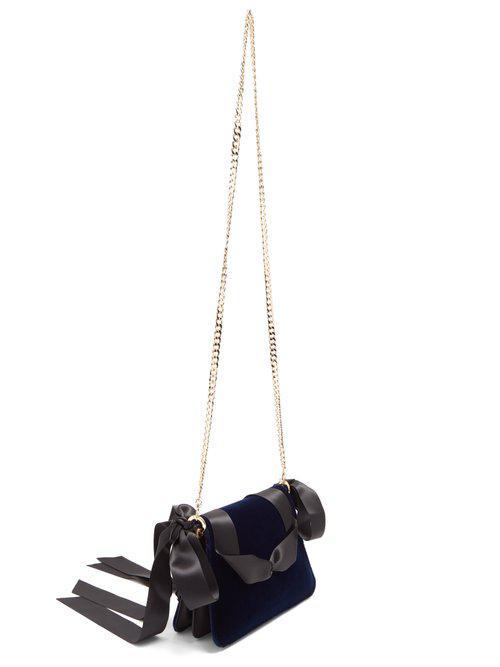JW Anderson Pierce Mini Woven-ribbon Velvet Cross-body Bag in Navy (Blue)