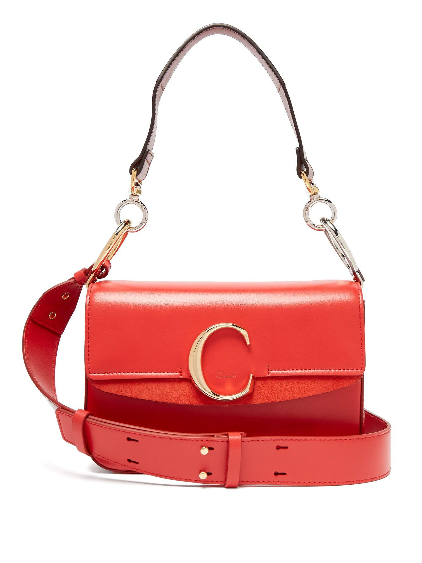 7af2e6ae Lyst - Chloé The C Leather And Suede Shoulder Bag in Red