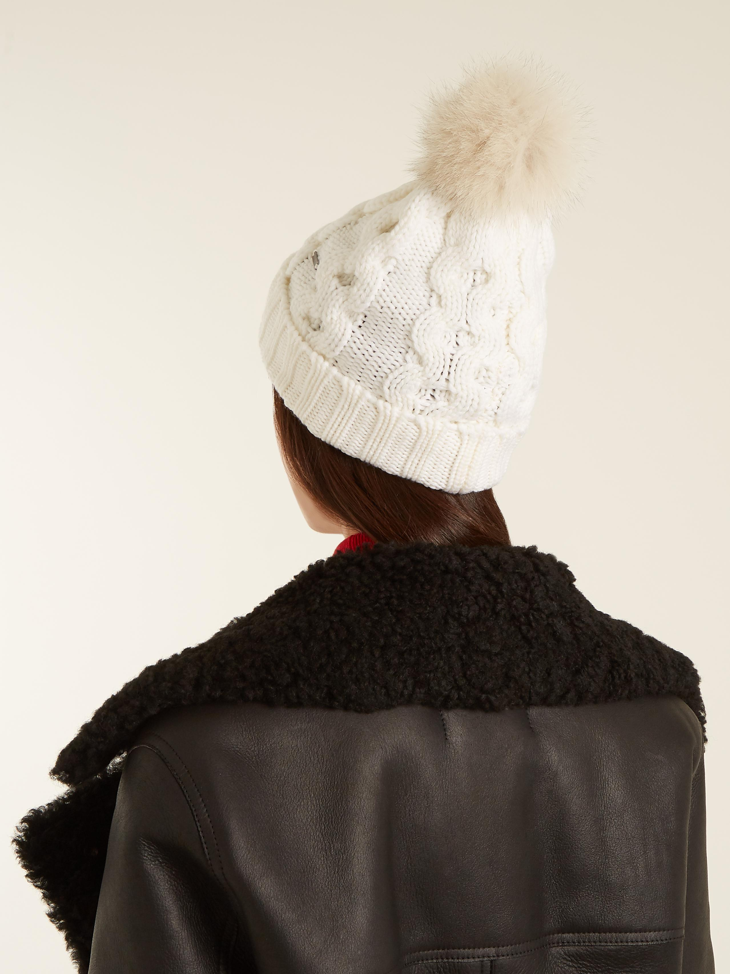 bdf12c9165e5d Lyst - Woolrich Serenity Fur-pompom Cable-knit Wool Beanie Hat in White