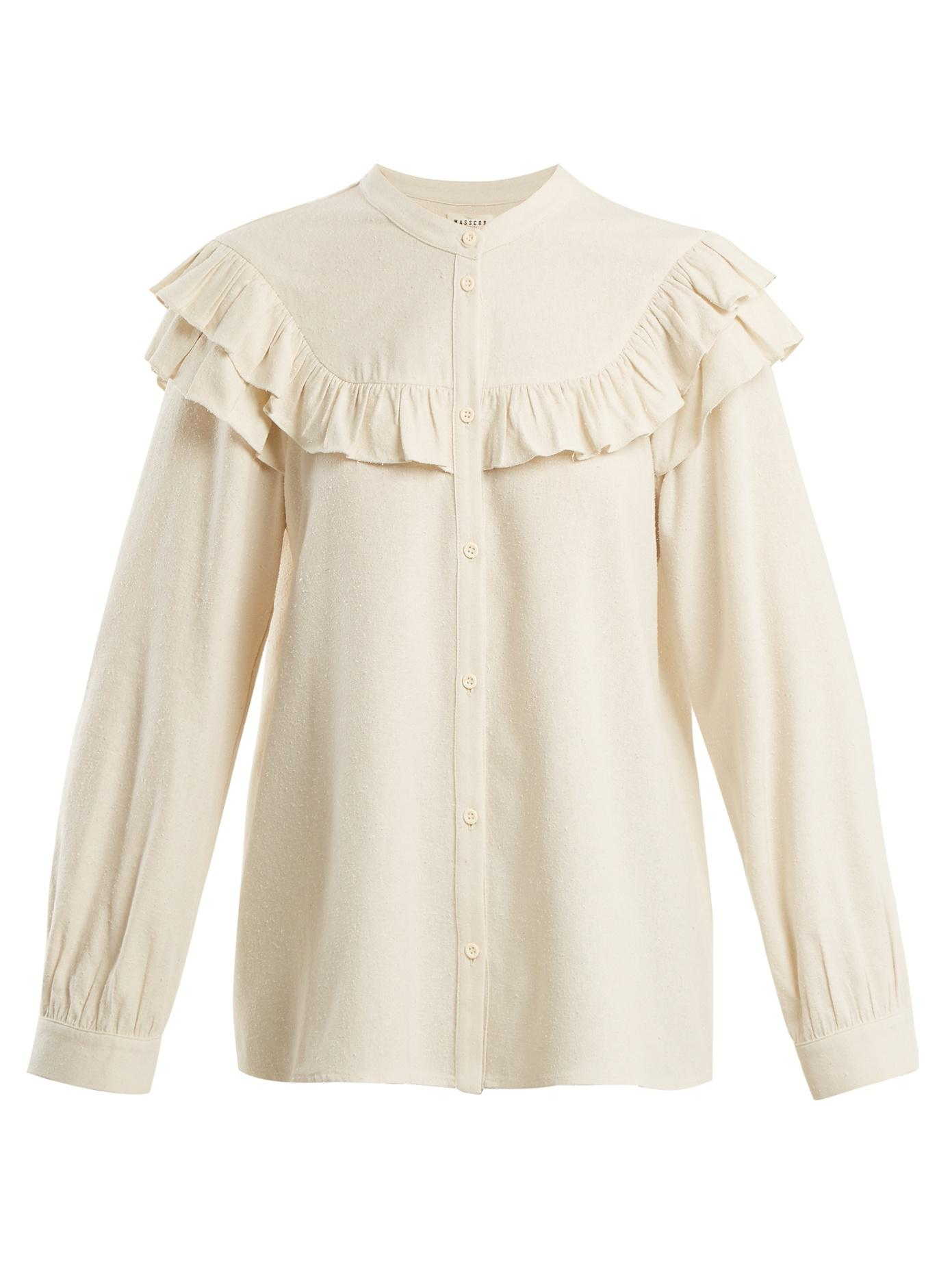Official Site For Sale Cheap Sale Extremely Frill-trimmed raw-silk blouse Masscob Clearance Online Comfortable Sale Online pV3Hu22