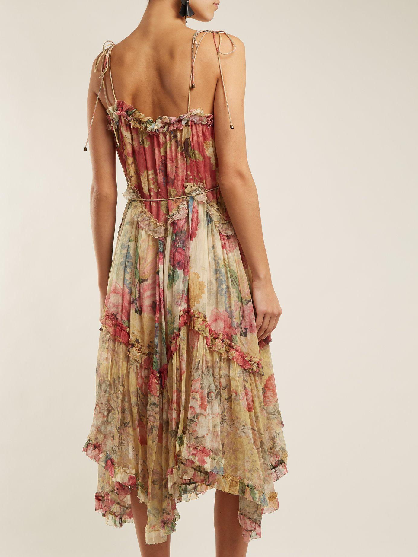Zimmermann Melody Floating Floral Print Silk Dress In Pink