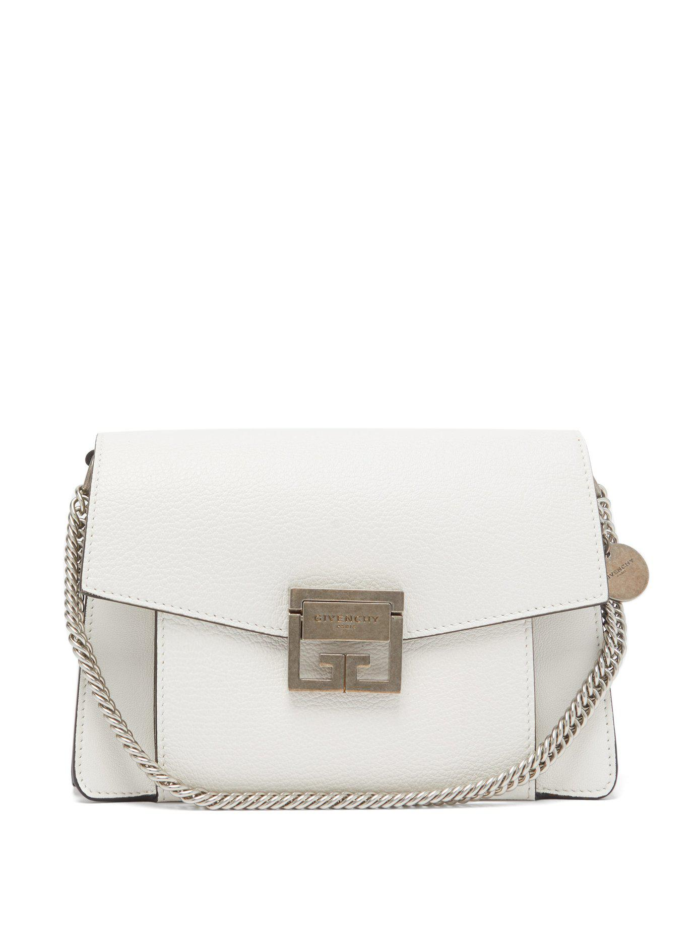120009c31604 Lyst - Givenchy Gv3 Small Leather Cross Body Bag in White