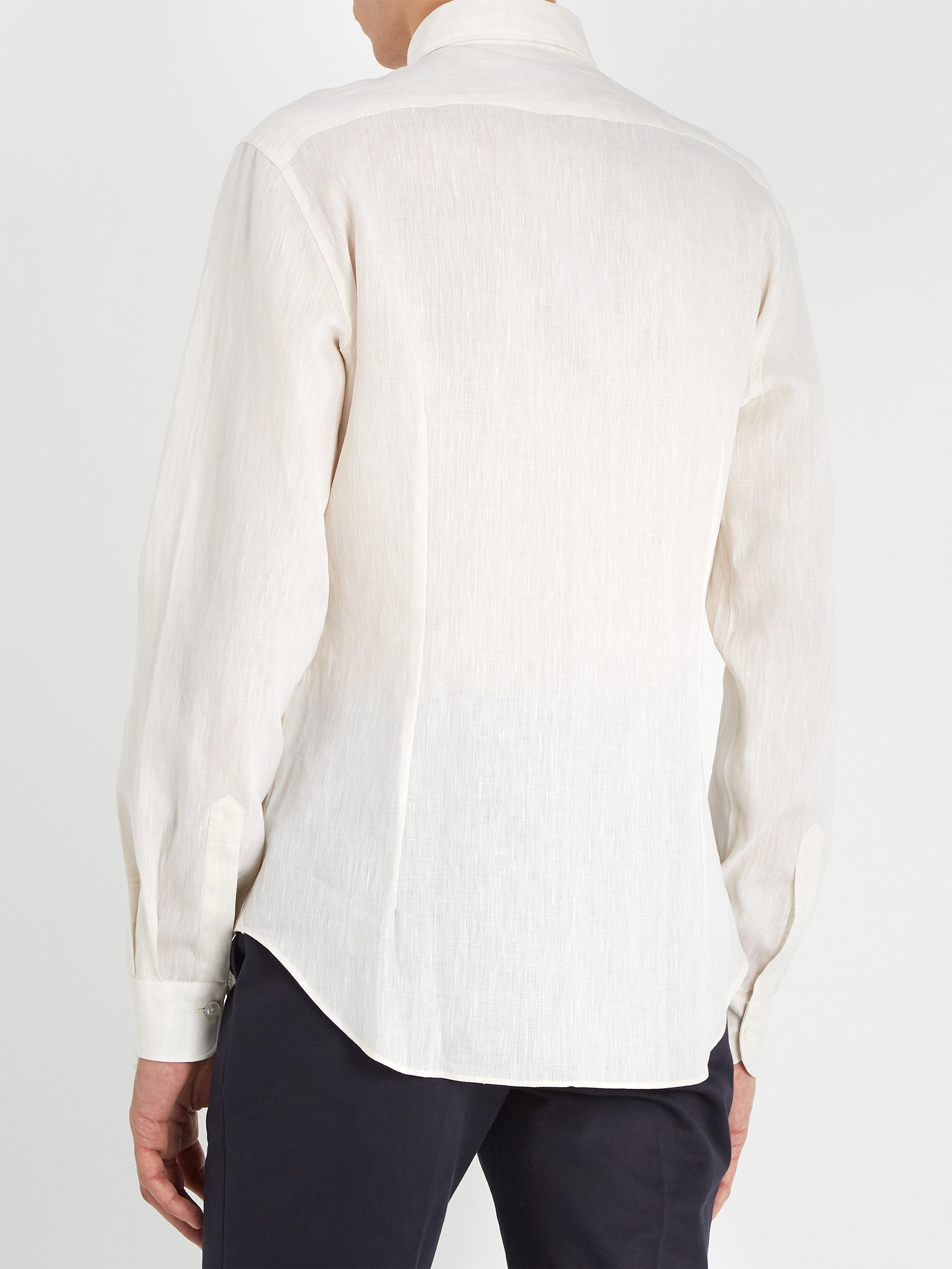 Thom Sweeney Patch-pocket Spread-collar Linen Shirt in Beige (Natural) for Men