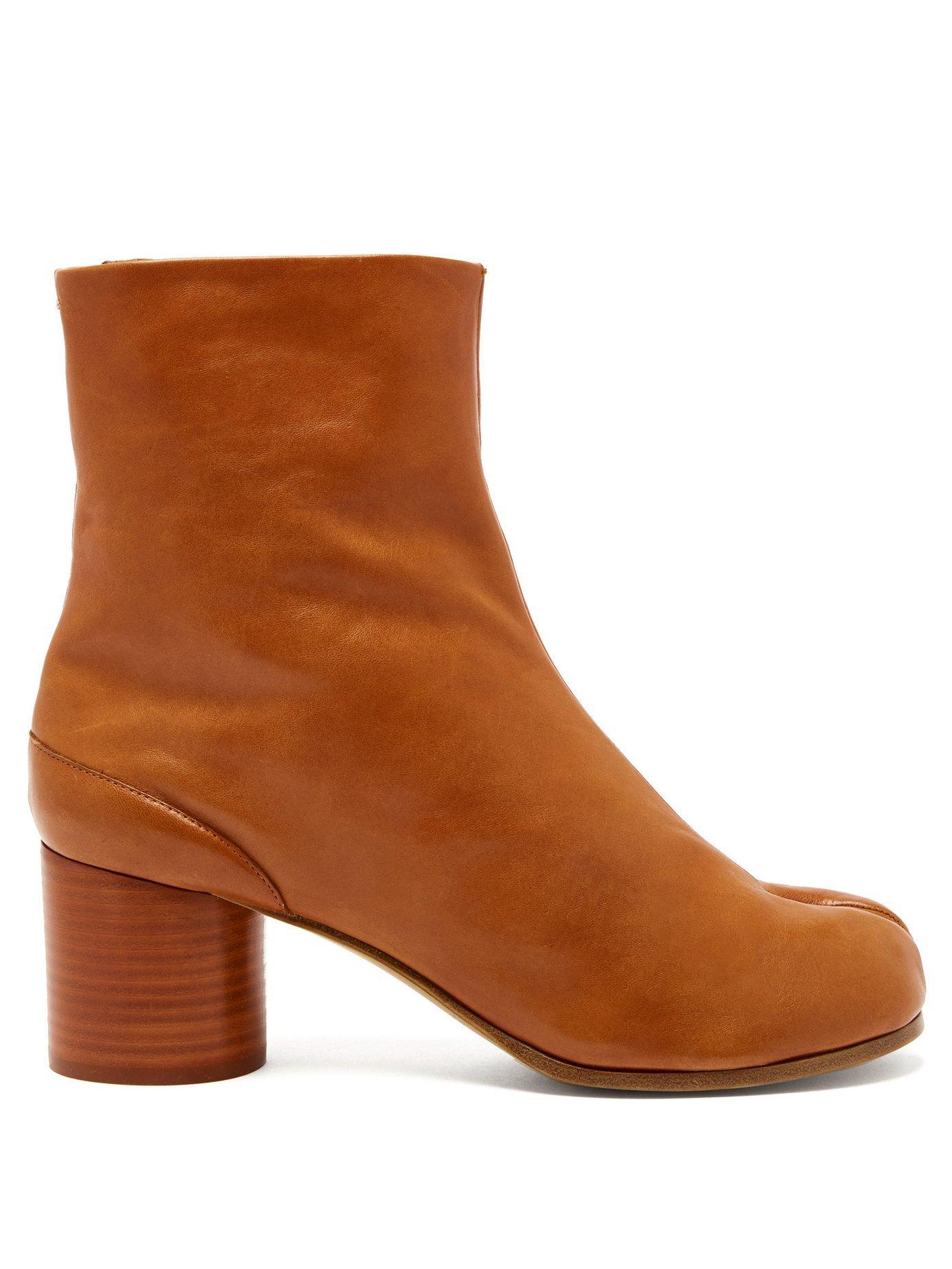 9447374250d Lyst - Maison Margiela Tabi Split Toe Leather Ankle Boots in Brown