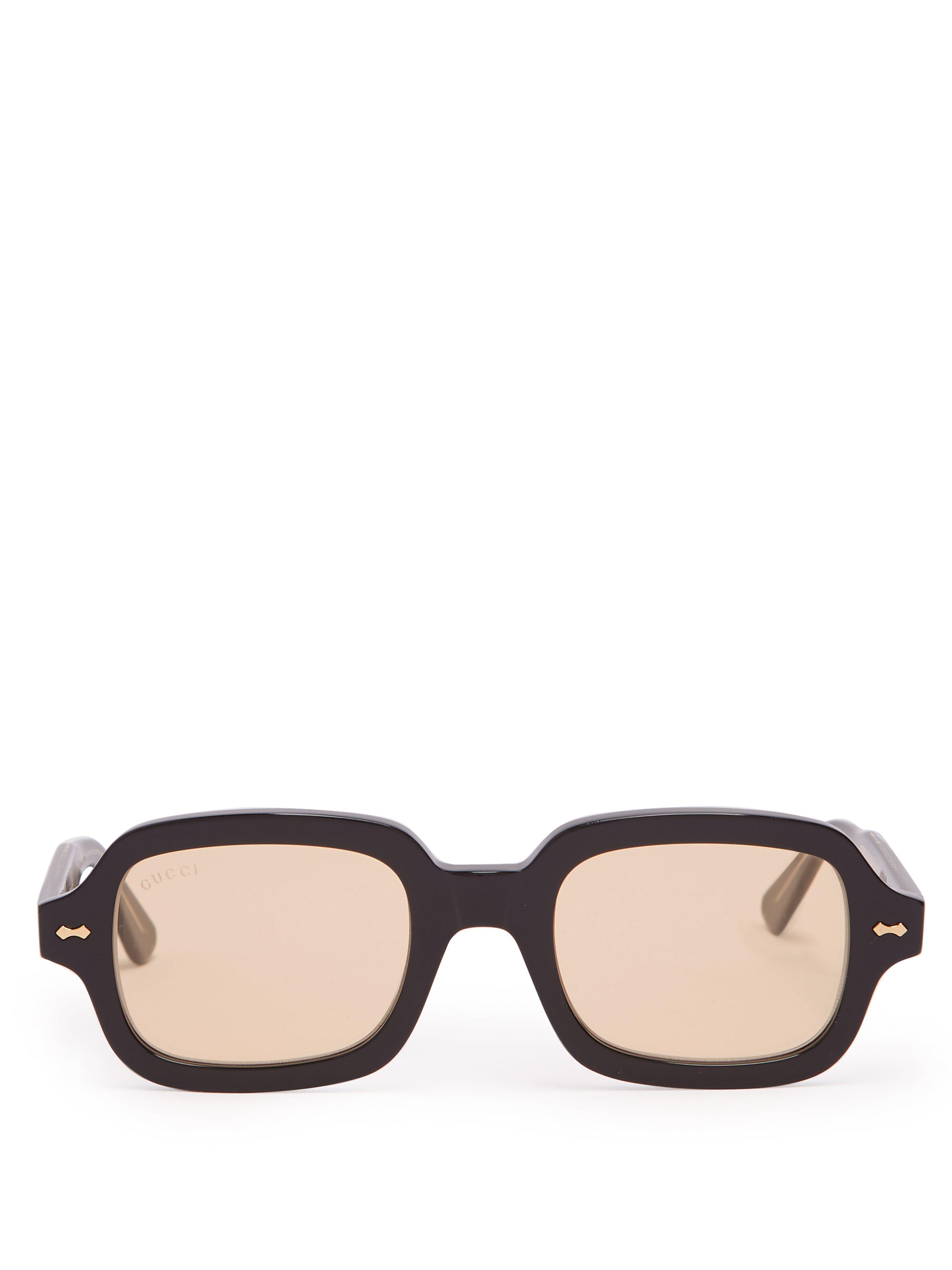 d97ca6c2479 Gucci - Black Round Square Frame Acetate Sunglasses for Men - Lyst. View  fullscreen