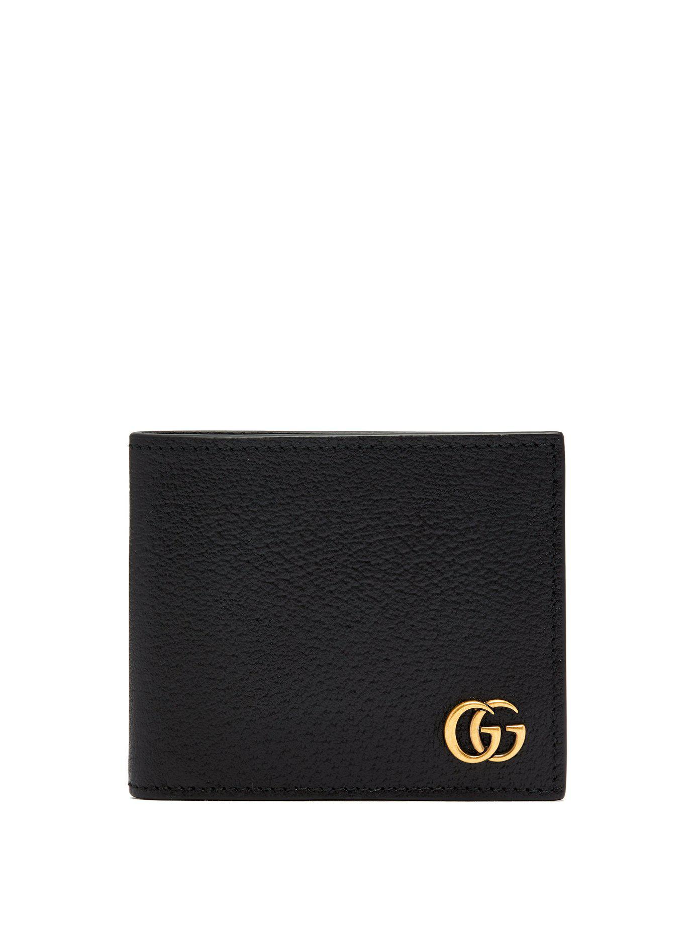 bfe28661c10e Gucci Gg Marmont Grained Leather Bi Fold Wallet in Black for Men ...
