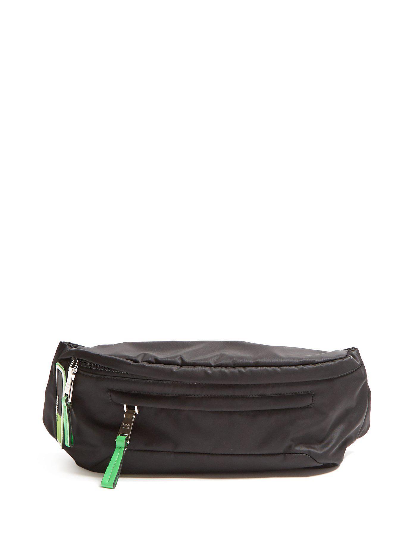 e86d4049519 Lyst - Prada Logo Nylon Belt Bag in Black for Men