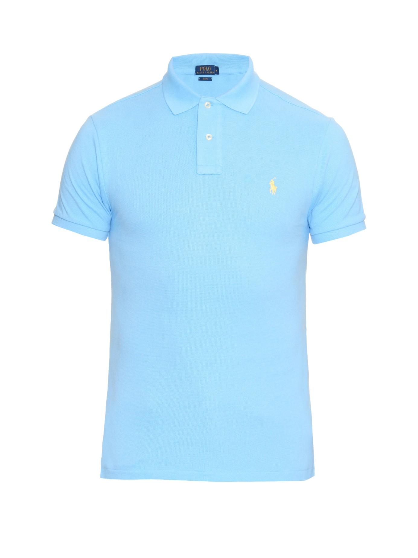 93cd32bb410 switzerland lyst polo ralph lauren slim fit cotton piqué polo shirt in blue  99496 28b9f