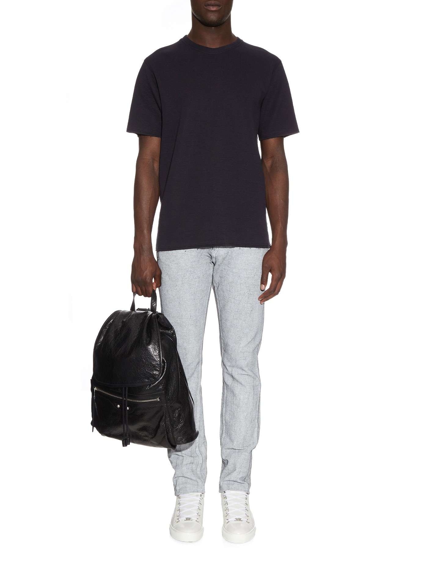 Balenciaga Denim Spray-print Slim-leg Jeans in Black for Men