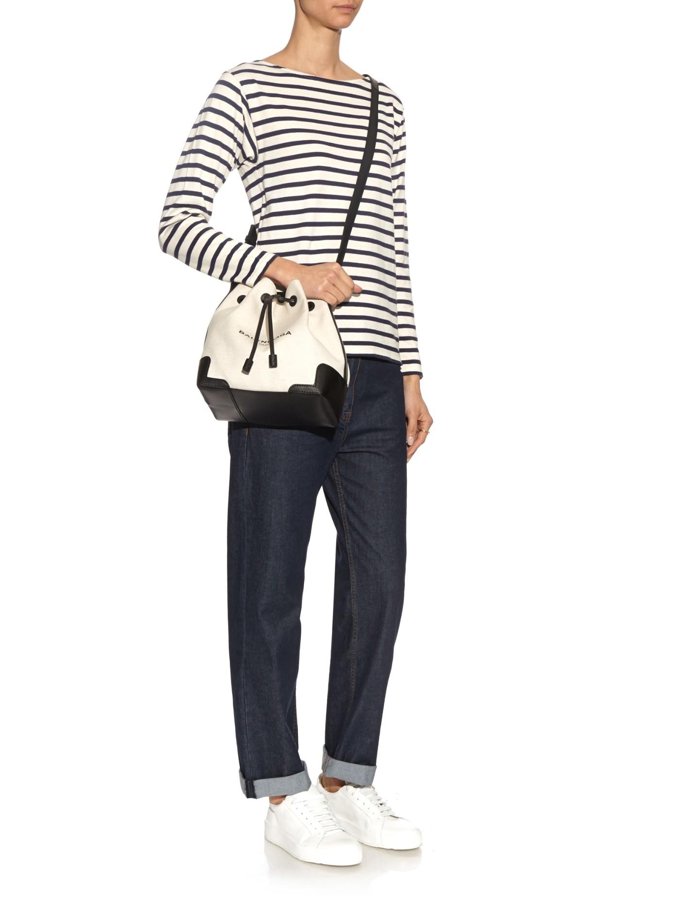 e194720bd Balenciaga Canvas And Leather Bucket Bag - Lyst