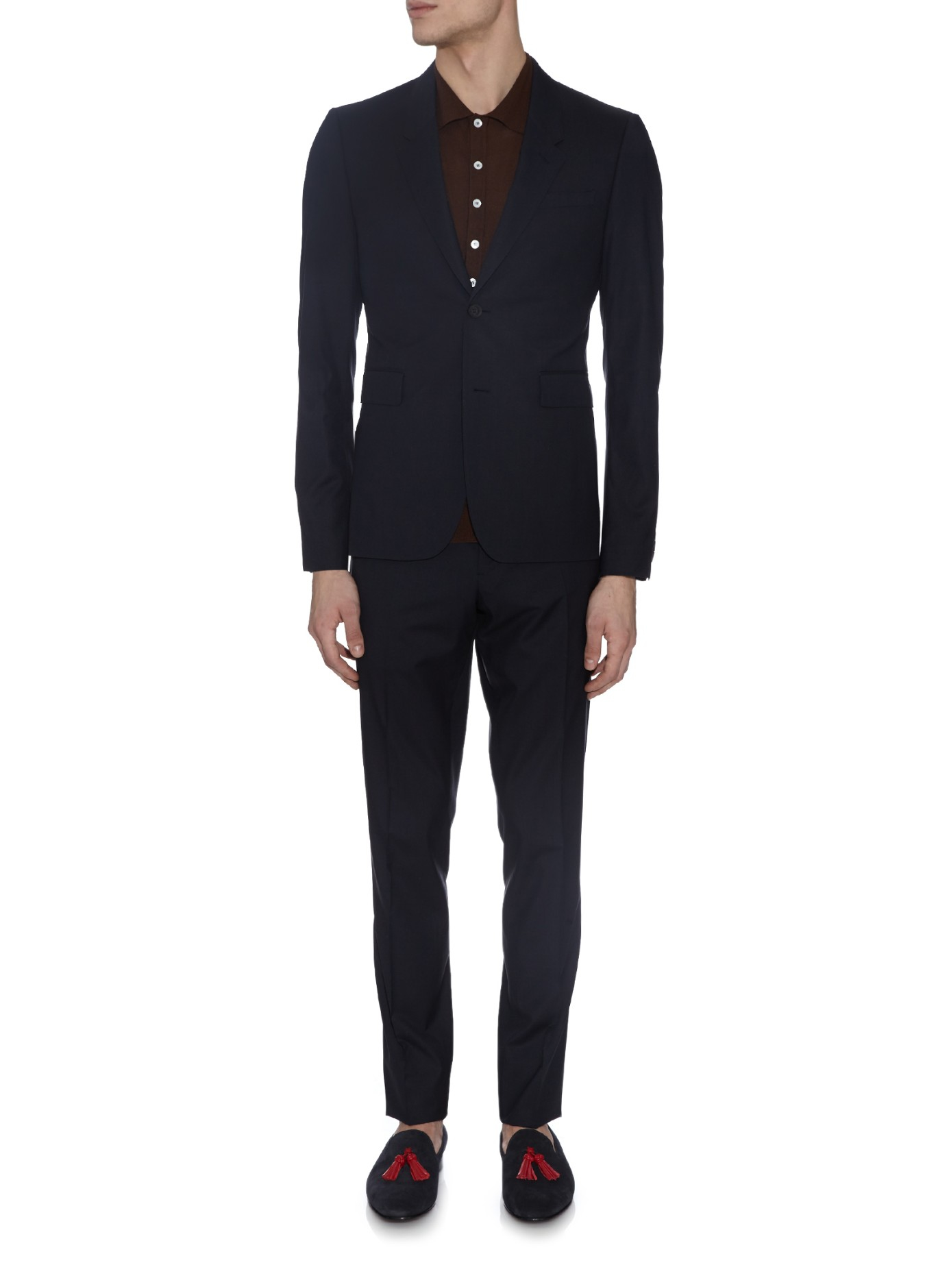 Burberry Prorsum Straight-leg Wool And Silk-blend Trousers in Navy (Black) for Men
