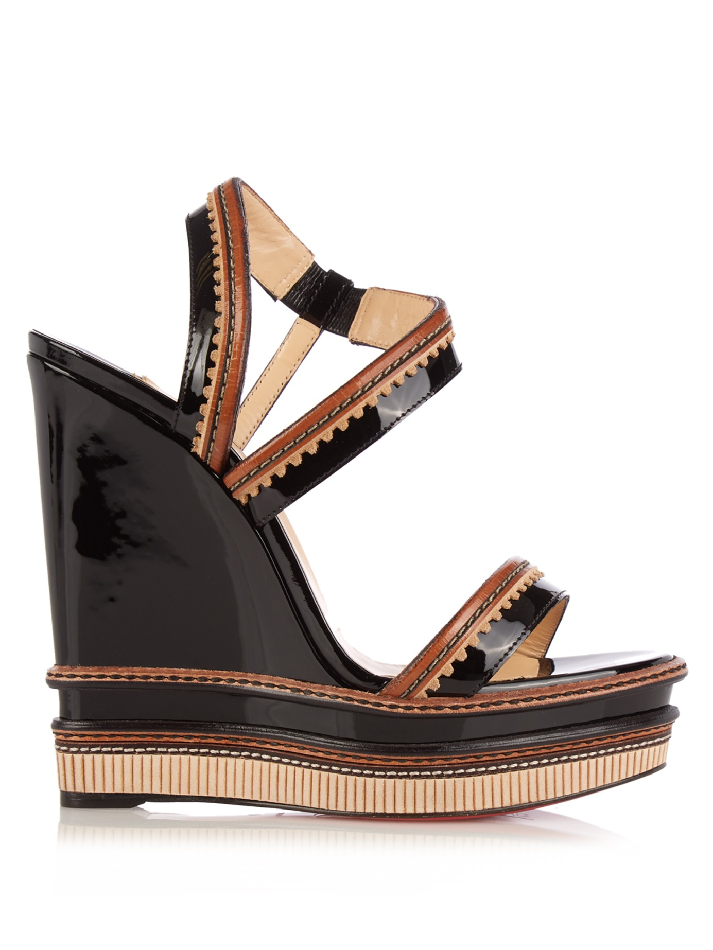 06233366517 ... liked on polyvore 47323 87712  usa christian louboutin trepi 140mm  patent leather wedge sandals in 4a62a c9c68