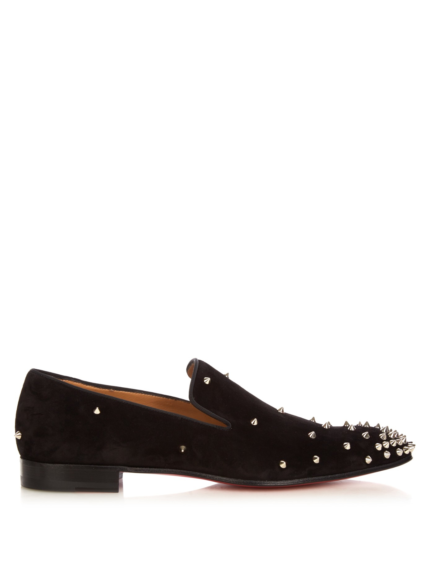 christian louboutin degra spike embellished slip on shoe