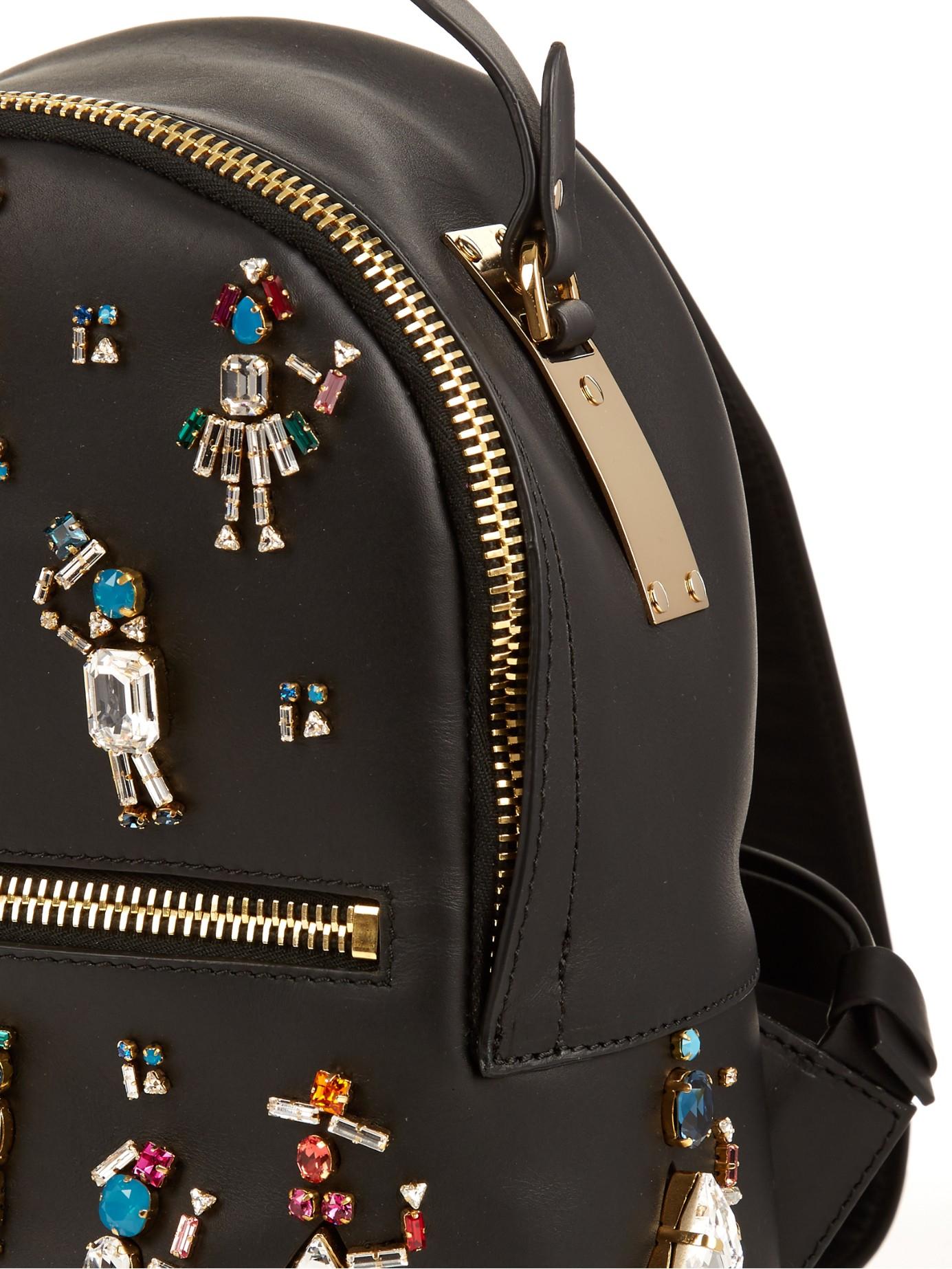 Sophie Hulme Wilson Embellished Mini Leather Backpack in Black (Natural)