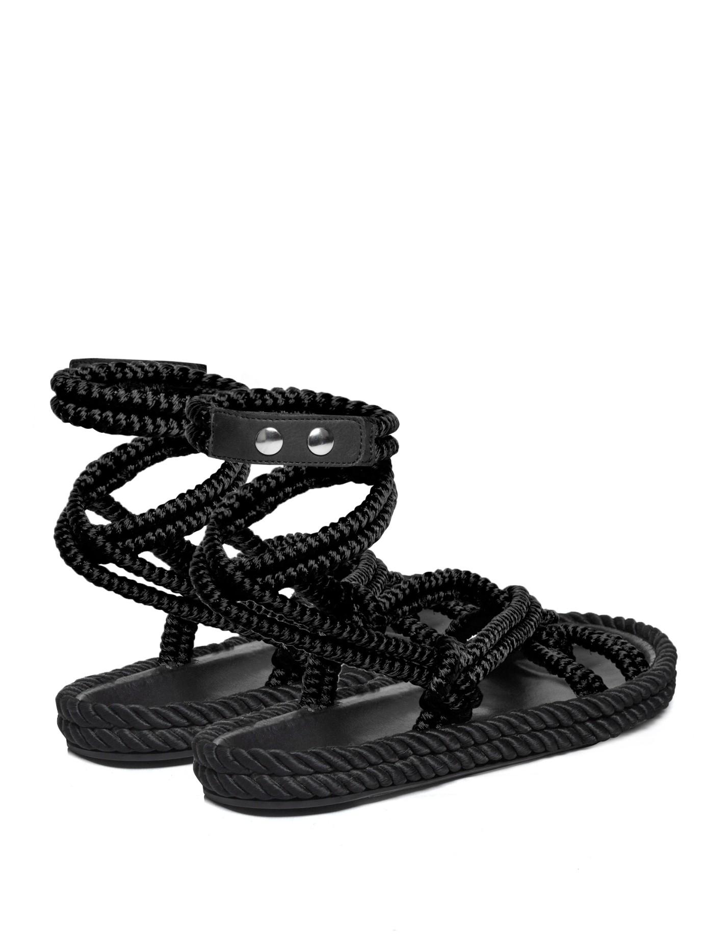 Isabel Marant Lou Wraparound Rope Sandals In Black Lyst