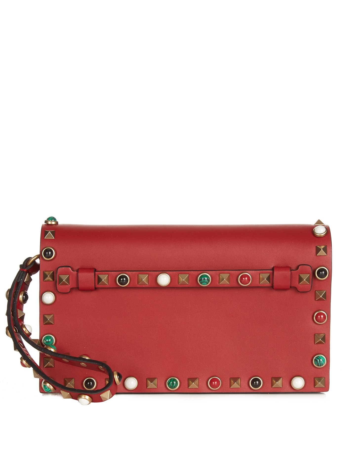 Valentino Rockstud Rolling Small Leather Clutch in Red