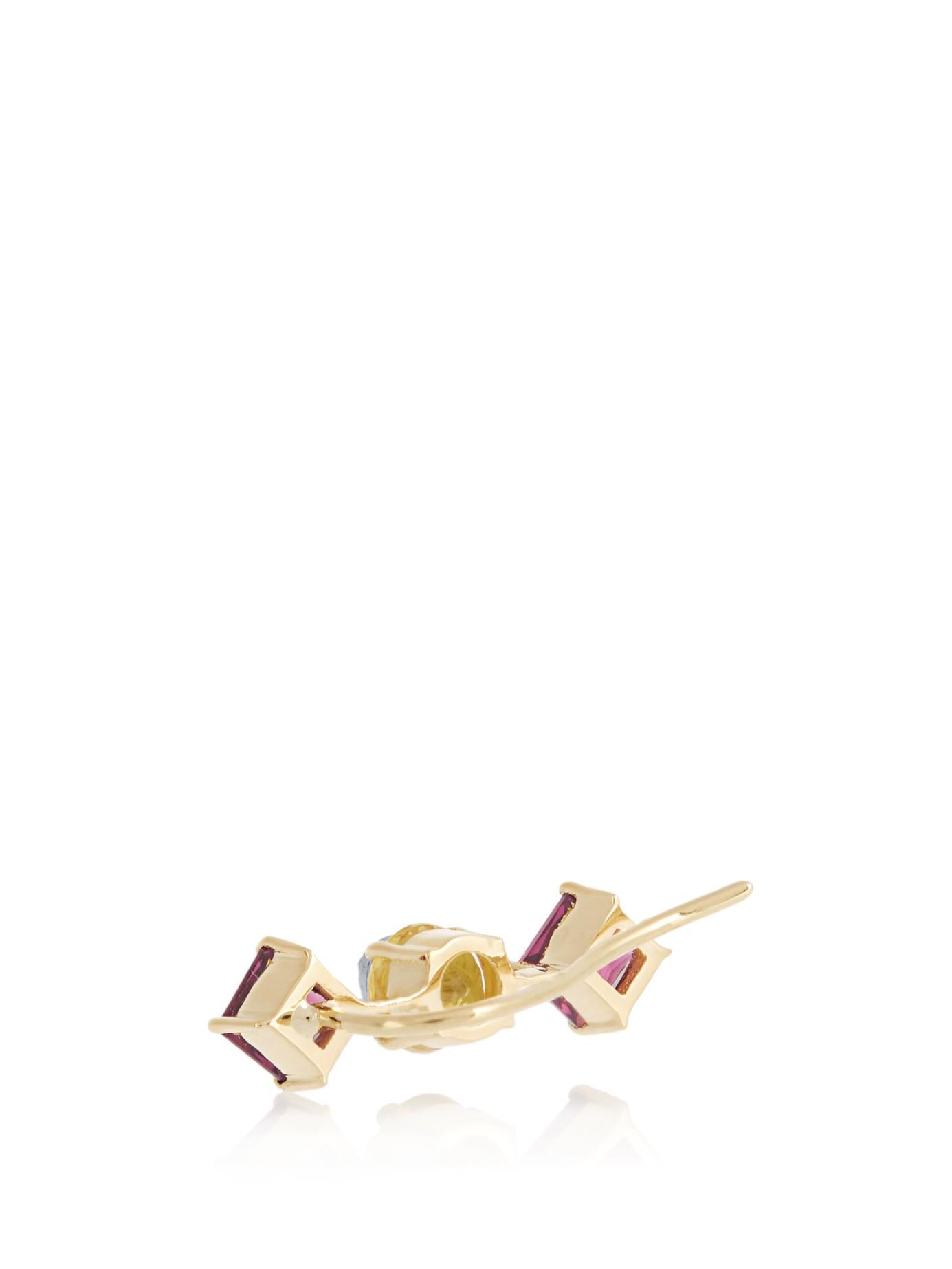Ileana Makri Sapphire, Rodolite & Yellow-gold Ear Cuff in Yellow Gold (Purple)