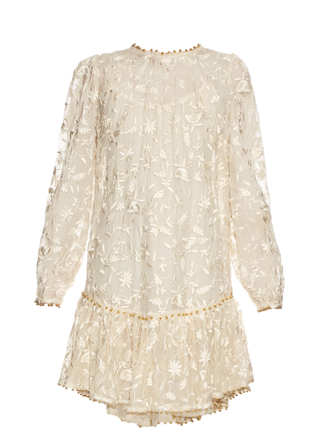 Zimmermann Master Drop-waisted Embroidered Dress in White ...