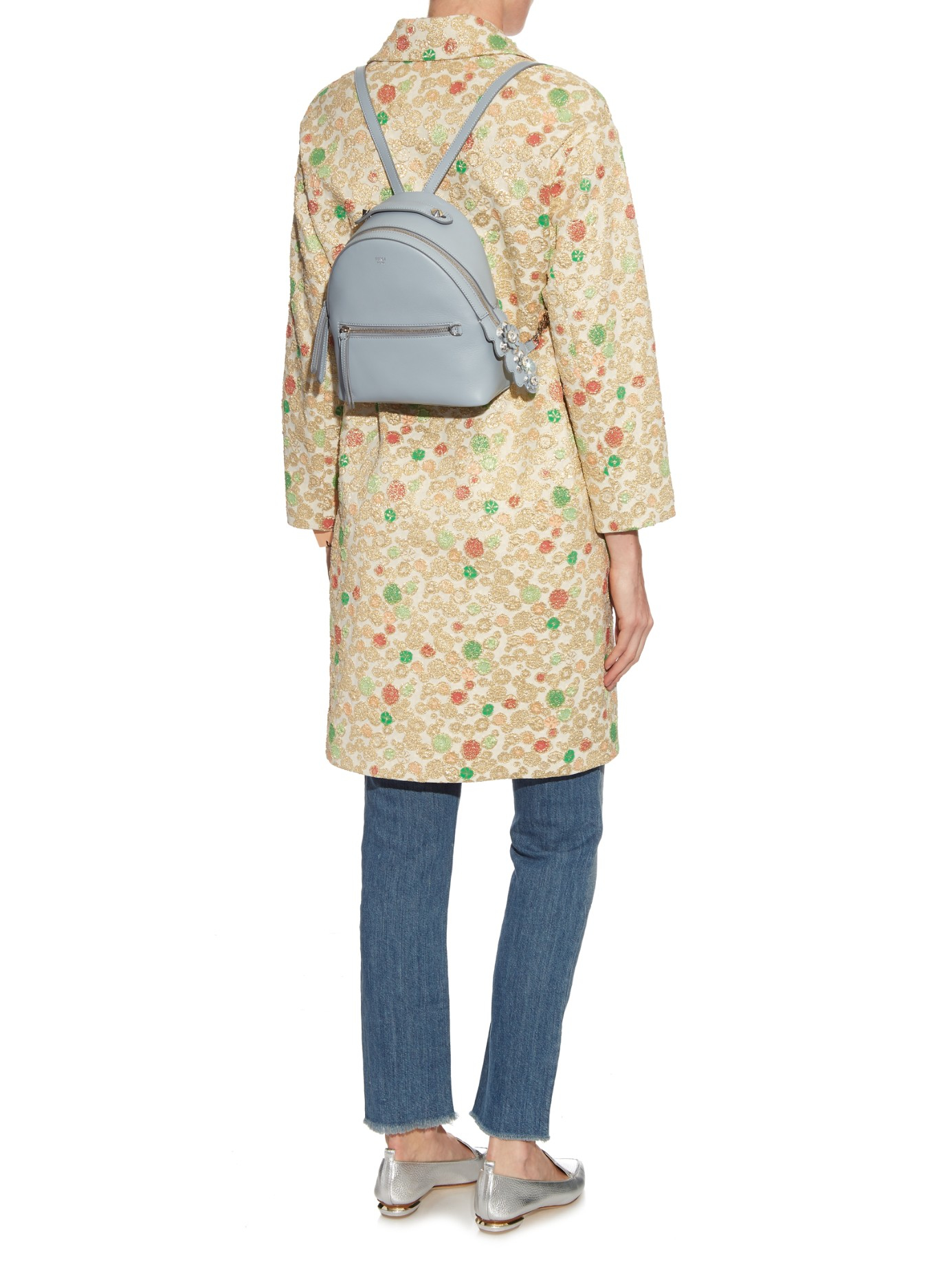 Fendi Leather By The Way Mini Flowerland Backpack in Light Blue (Blue)