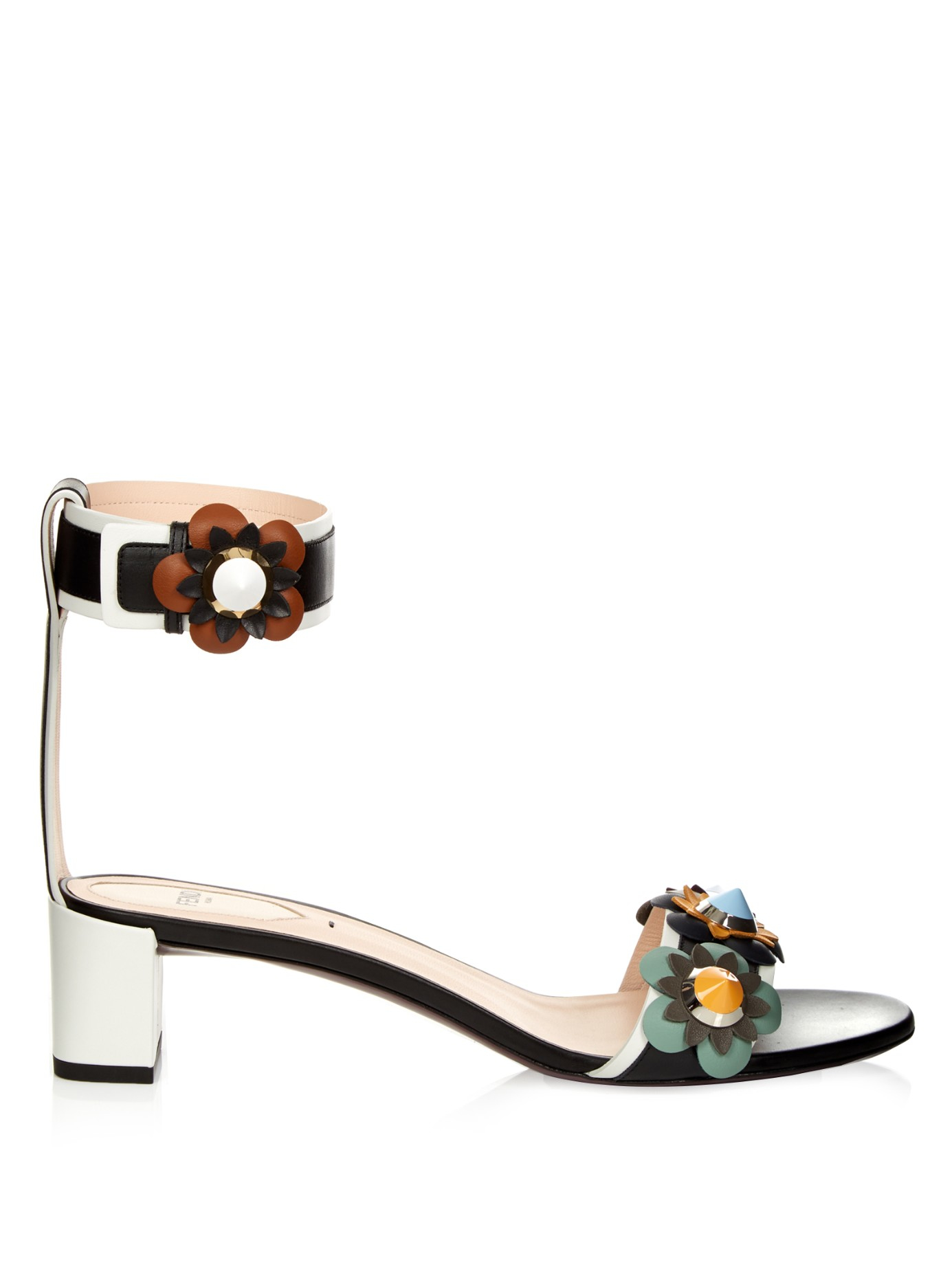 cb68625cb2c8 Lyst - Fendi Flowerland Leather Sandals in Black