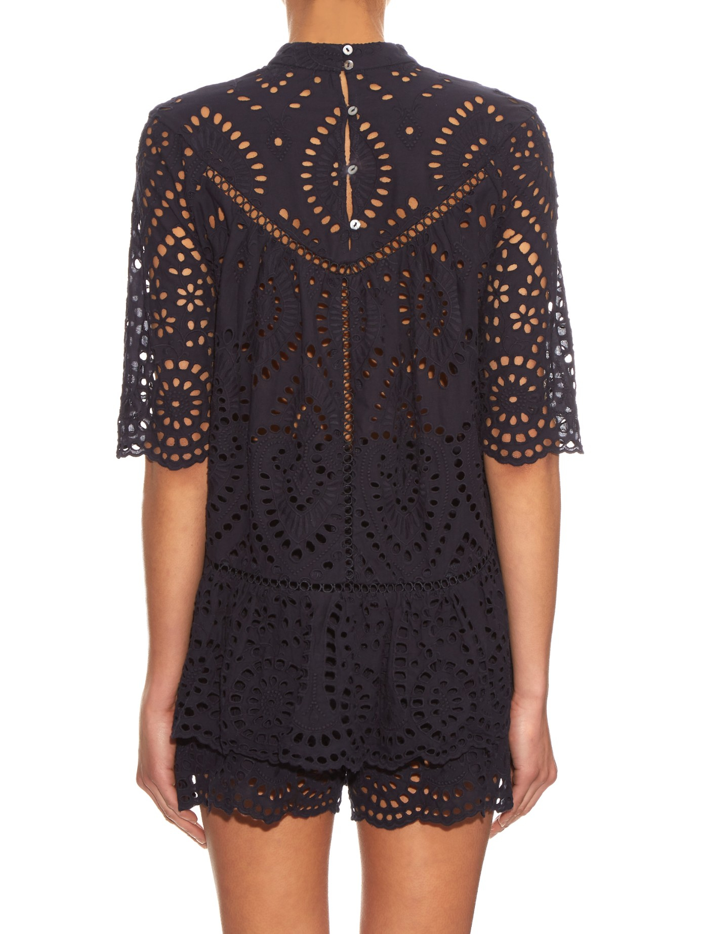 Zimmermann Lace Harlequin Broderie Anglaise Top In Navy