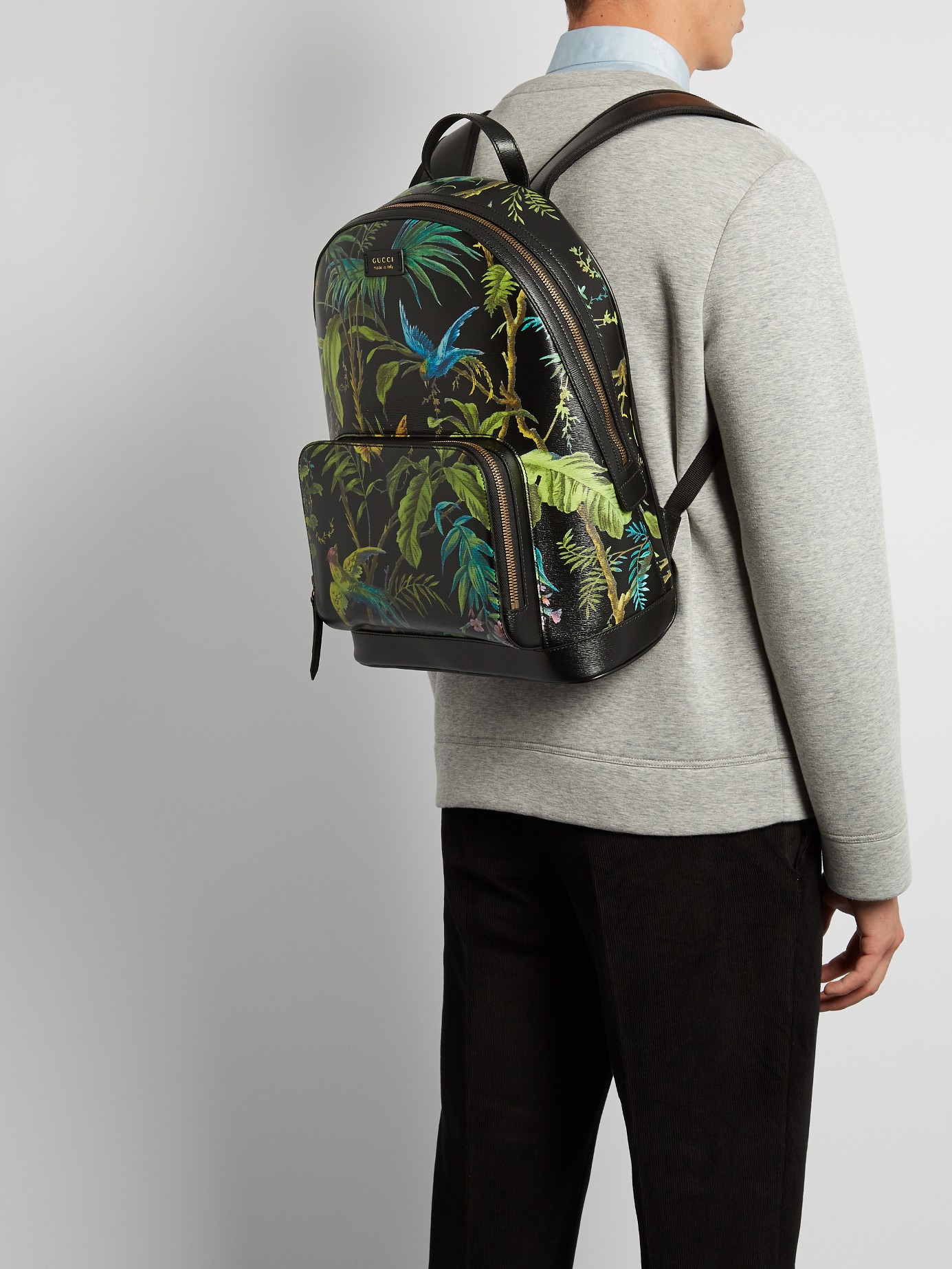 e281ace93ad6 Gucci Tropical-print Leather Backpack for Men - Lyst