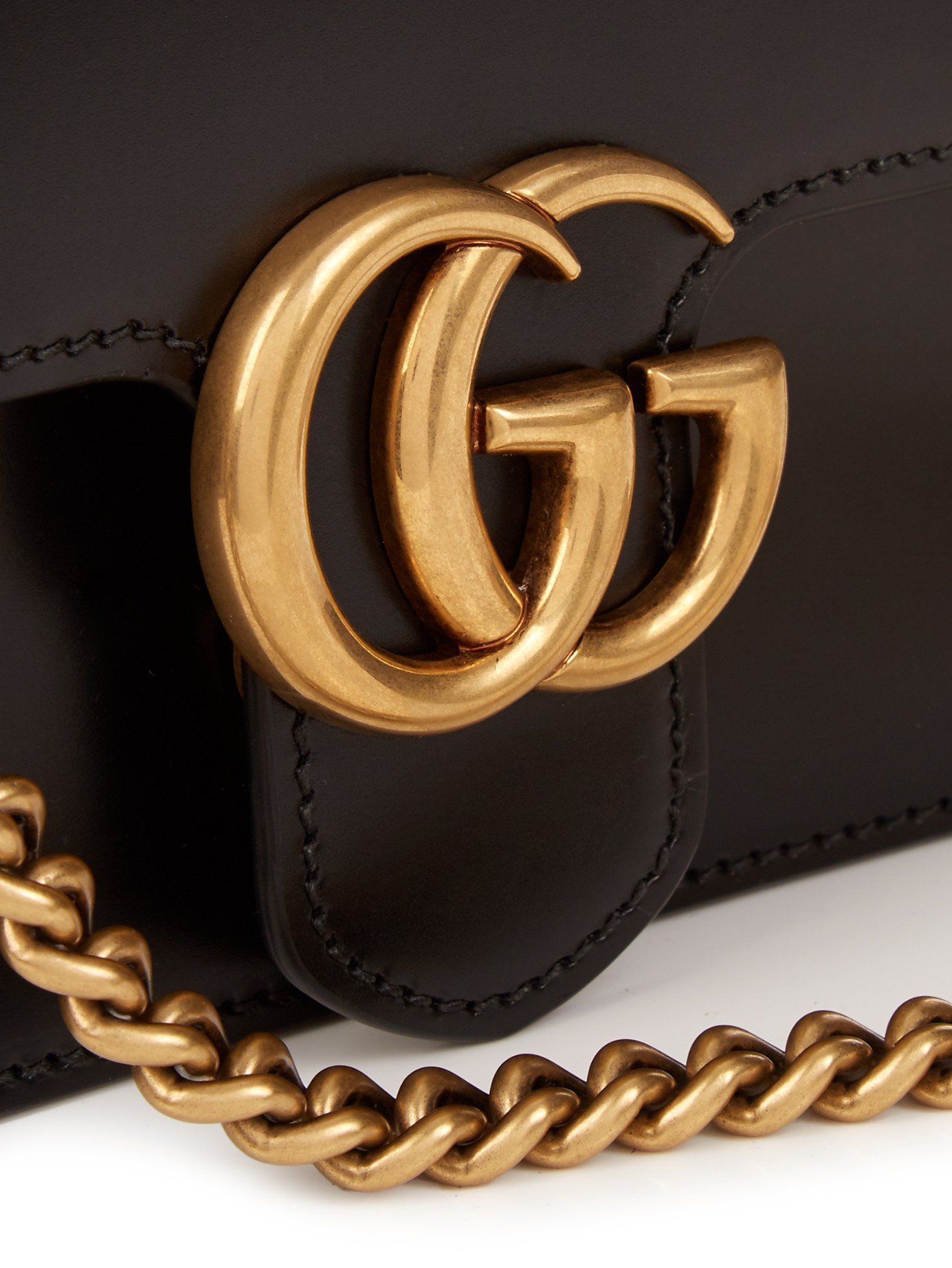 d7ac38e75155 Gucci Gg Marmont Leather Cross-body Bag in Black - Lyst