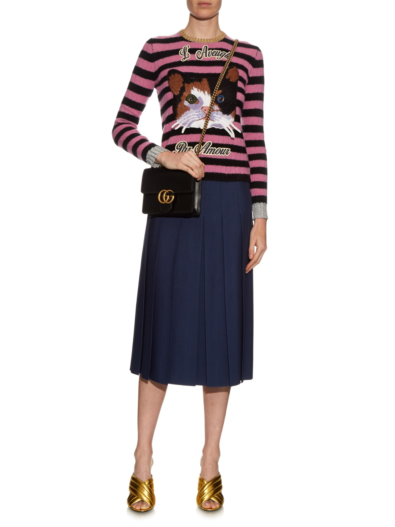 Lyst - Gucci Gg Marmont Leather Cross-body Bag in Black 6a6a3d051c05f