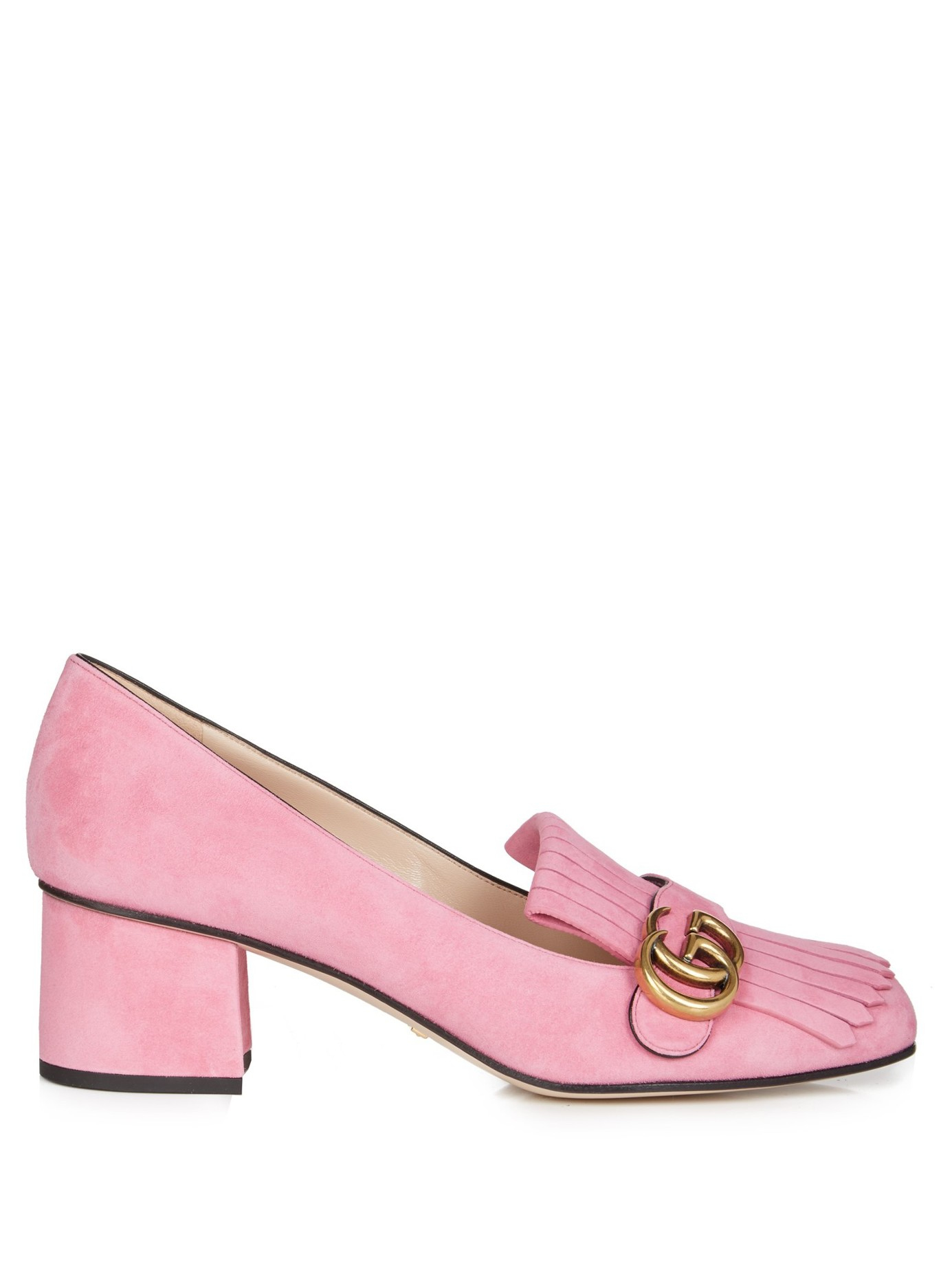 95a4643fef7 Lyst - Gucci Marmont Fringed Suede Loafers in Pink