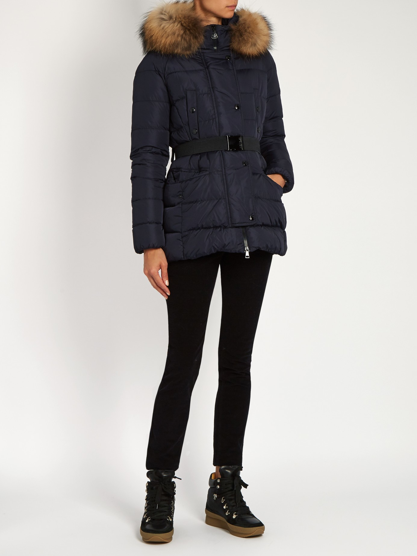 Moncler Synthetic Clio Fur Trimmed Quilted Down Coat In