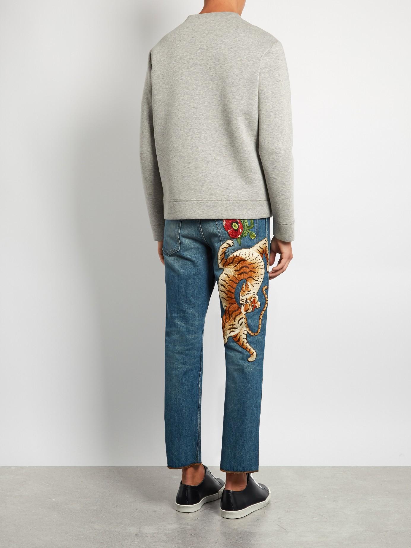 Lyst Gucci Tiger Appliqu 233 Slim Fit Cropped Jeans In Blue