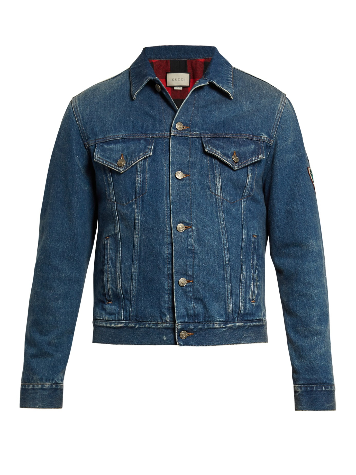 e4e6cc0d3 Gucci Tiger-embroidered Denim Jacket in Blue for Men - Lyst
