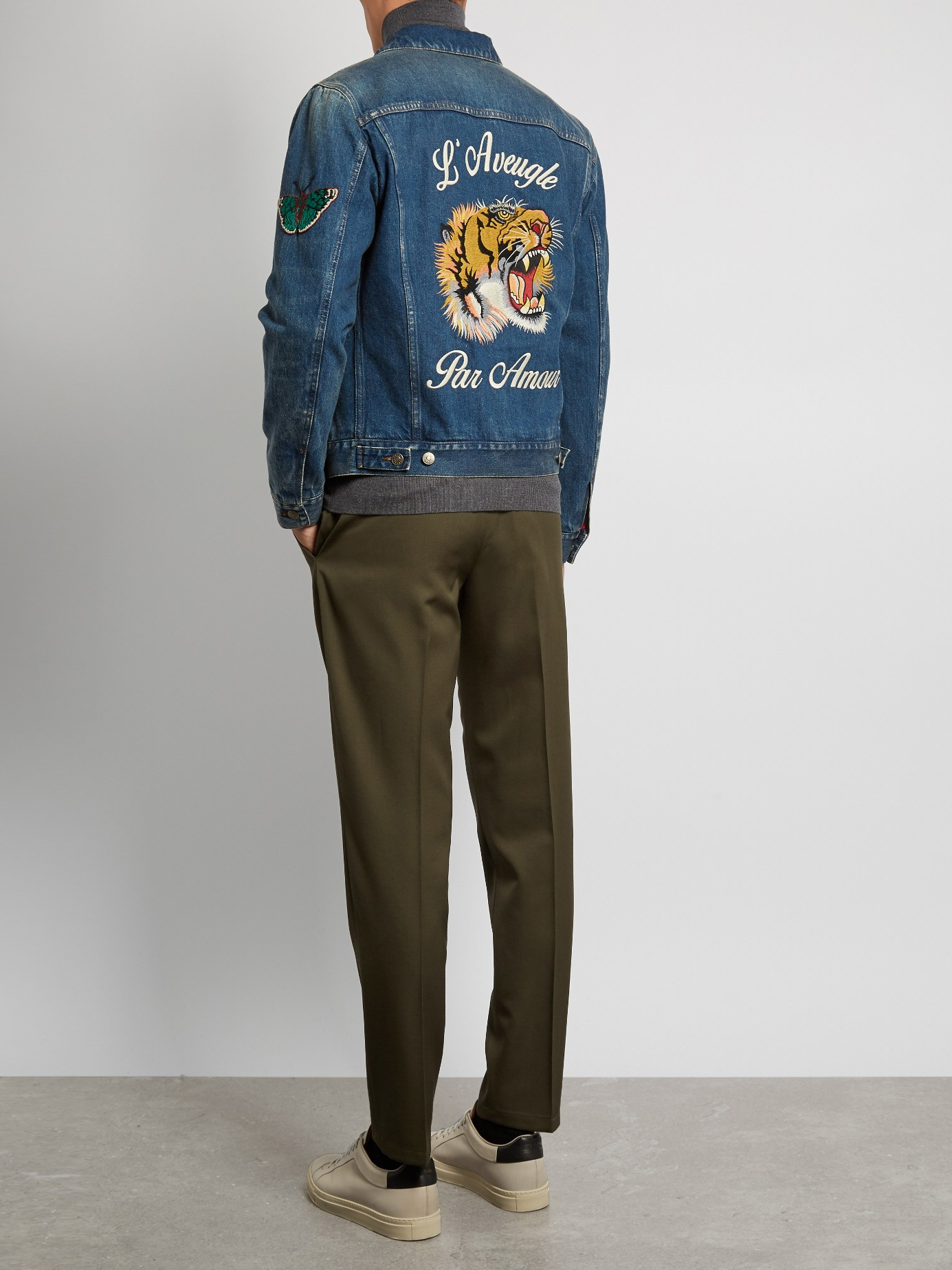 e7688160f Gucci Tiger Jeans Jacket. Gucci Embroiderd Tiger Denim Jacket in Blue for  Men - Lyst