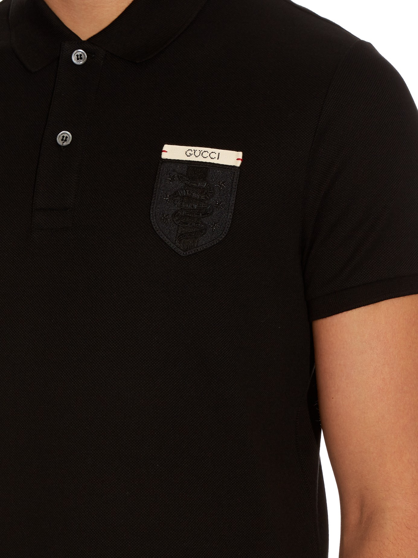 Lyst Gucci Snake Crest Cotton Blend Polo Shirt In Black For Men