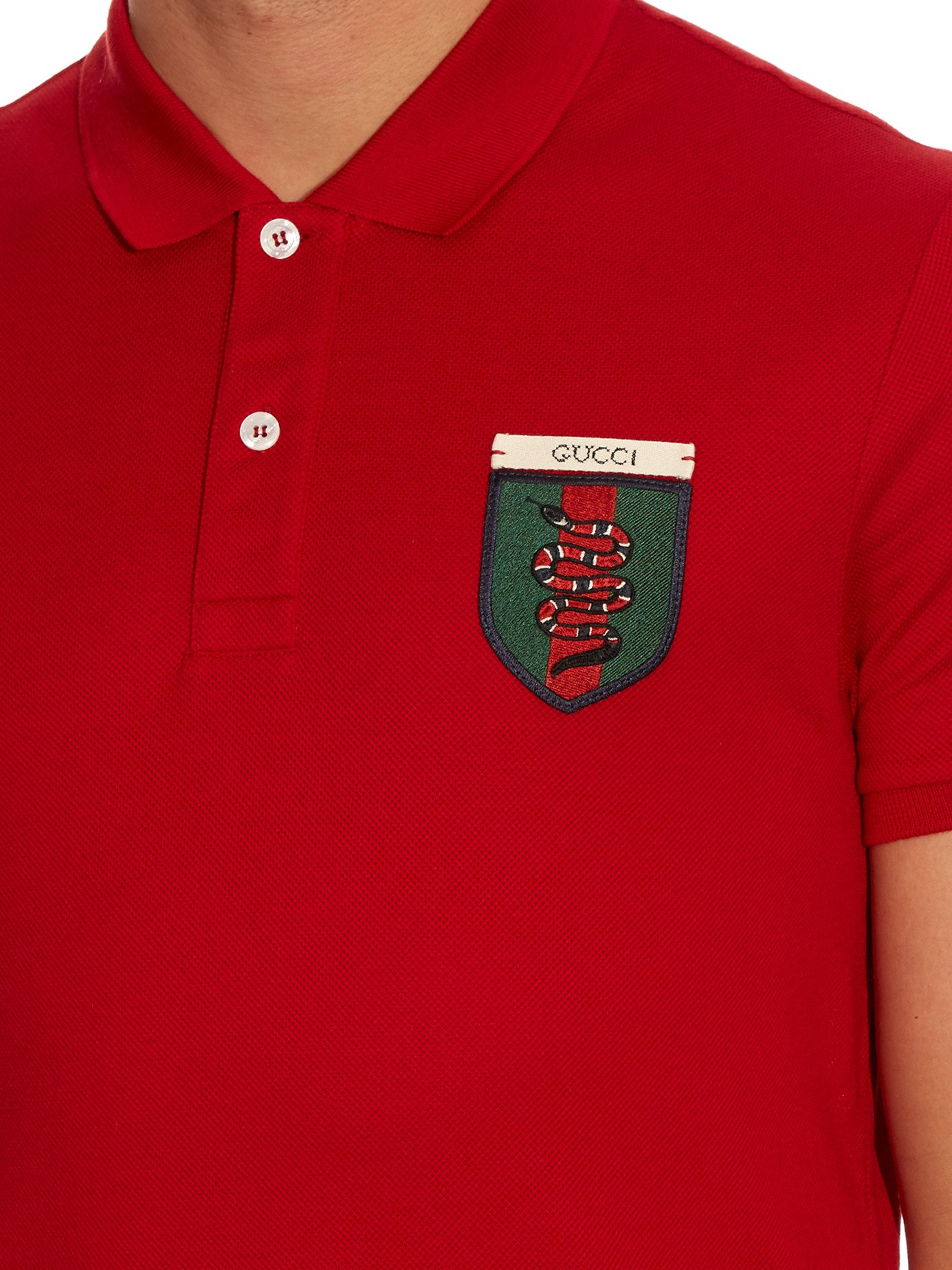 Gucci Snake Crest Cotton Blend Polo Shirt For Men Lyst