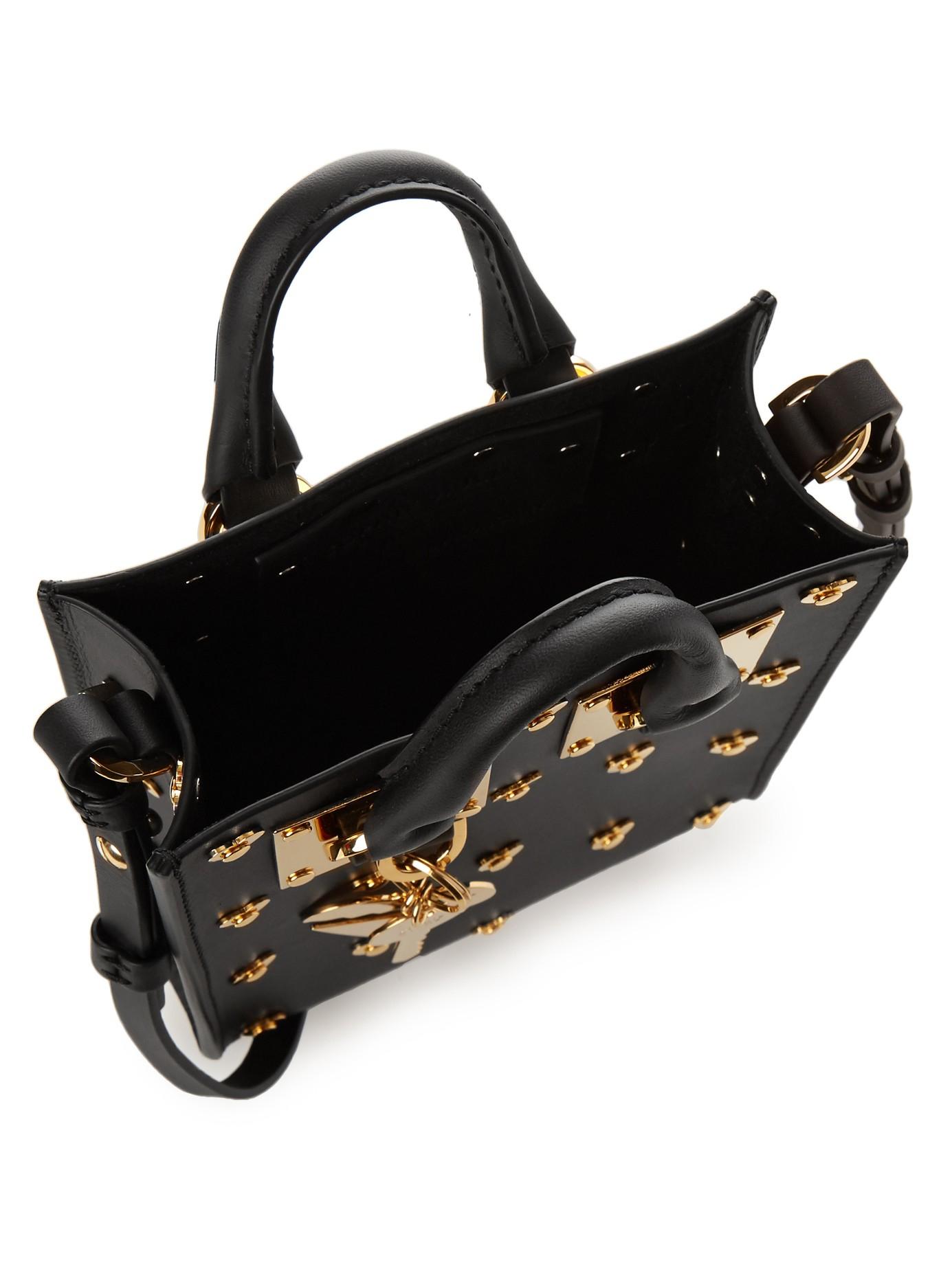 Sophie Hulme Box Albion Leather Shoulder Bag in Black Gold (Black)