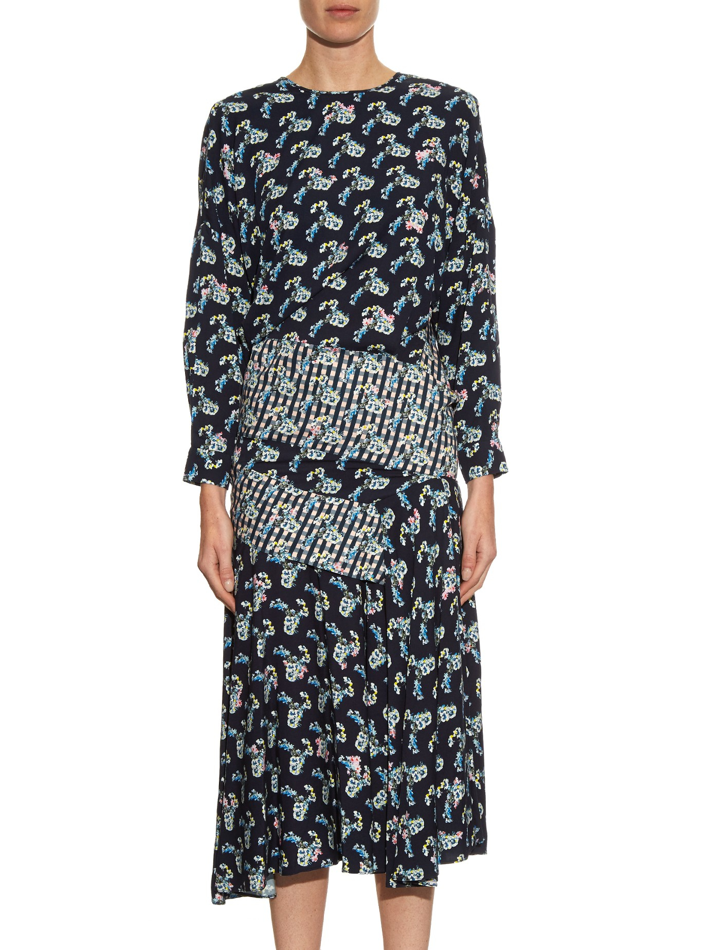 Preen By Thornton Bregazzi Synthetic Jana Carnation-print Long-sleeved Dress in Navy (Blue)