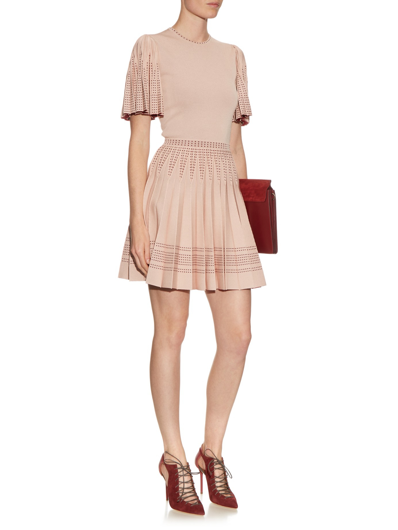 e687771a344 Alexander McQueen Pleated A-line Intarsia-knit Mini Dress in Natural ...