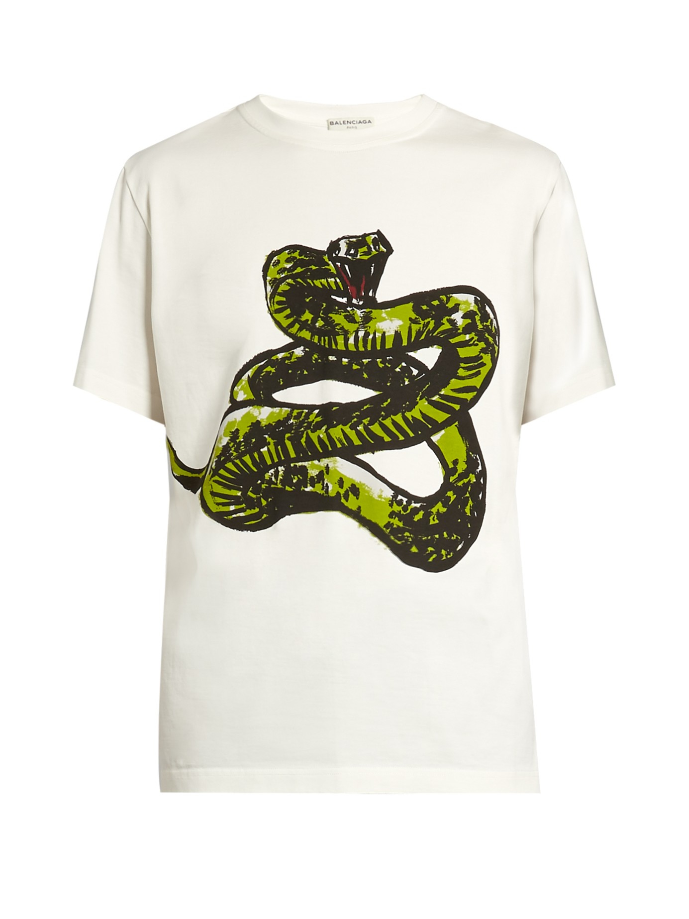 723debef23bc Balenciaga Snake-print Cotton-jersey T-shirt in White for Men - Lyst