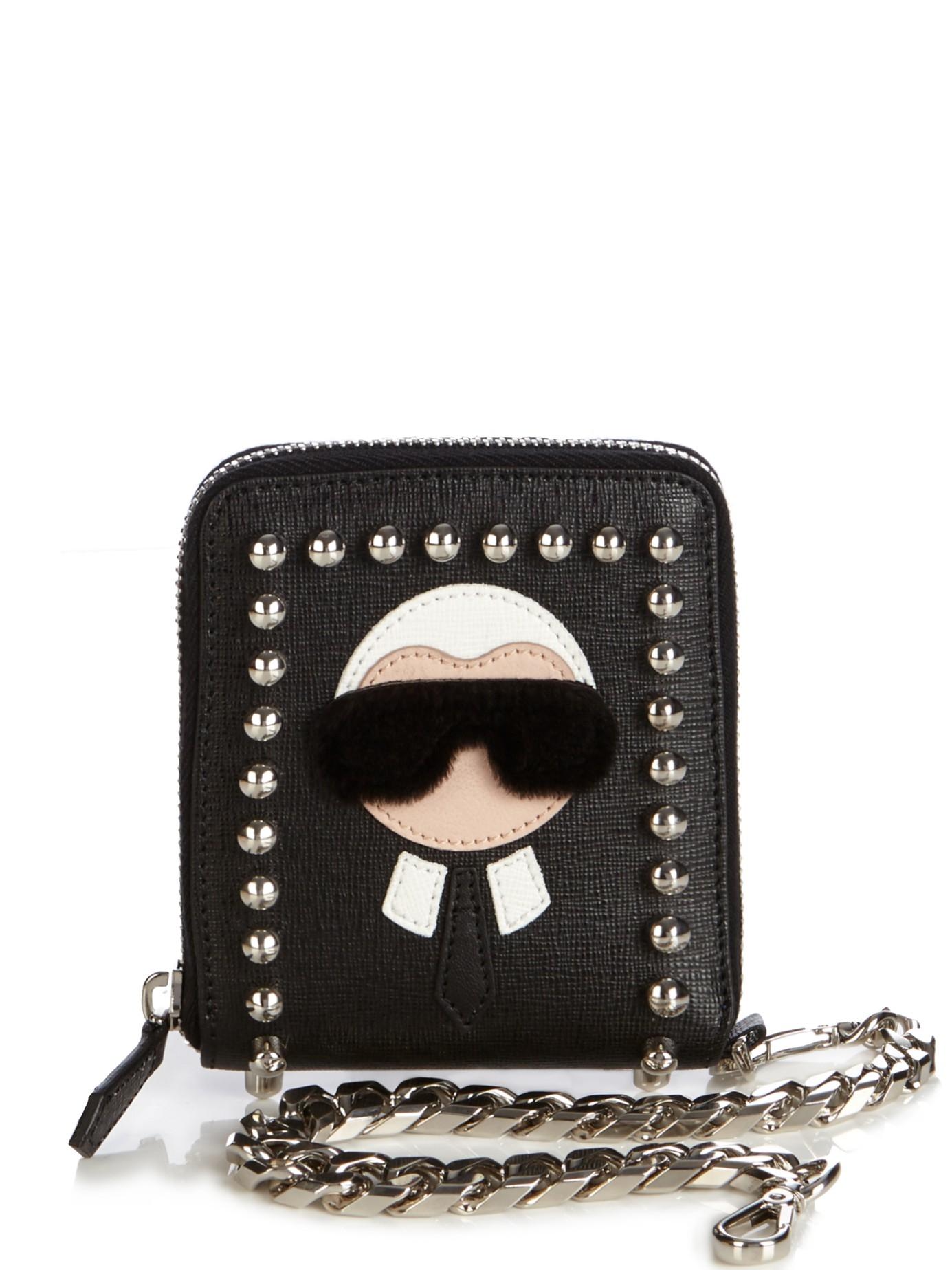 0ea5e7144d60 Lyst - Fendi Karlito Wallet On Chain in Black for Men