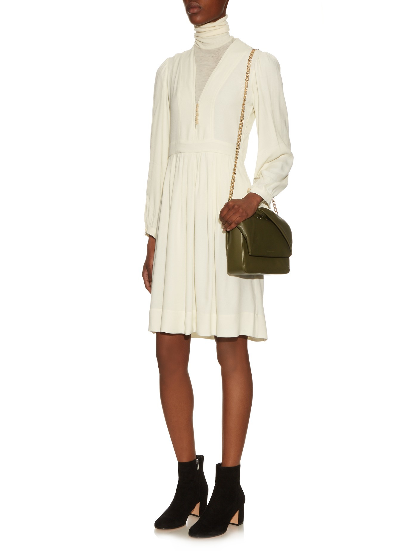 9cacf08ecb Étoile Isabel Marant Neil V-neck Crepe Dress in White - Lyst
