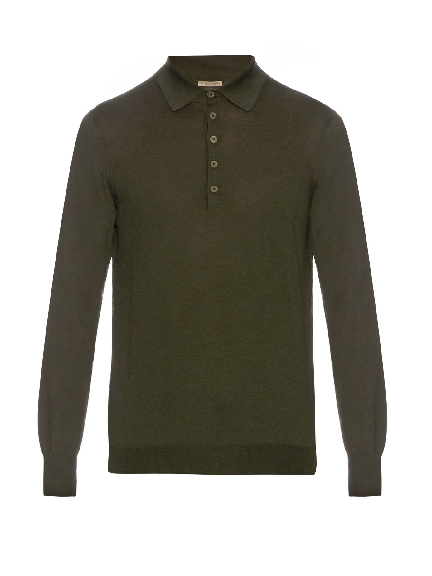 Bottega veneta long sleeved merino wool polo shirt in for Bottega veneta t shirt