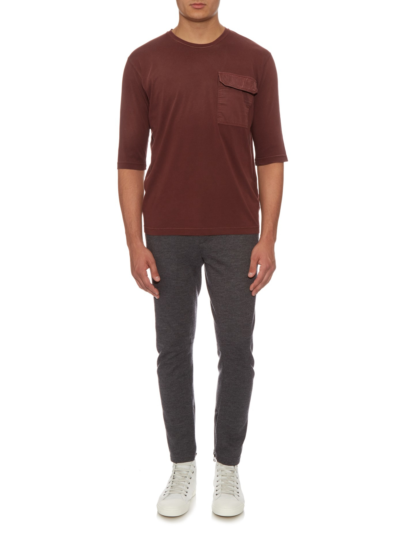 Bottega veneta patch pocket cotton t shirt in red for men for Bottega veneta t shirt