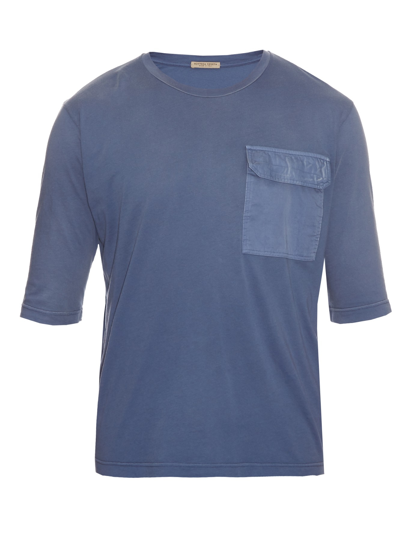 Bottega veneta patch pocket cotton t shirt in blue for men for Bottega veneta t shirt