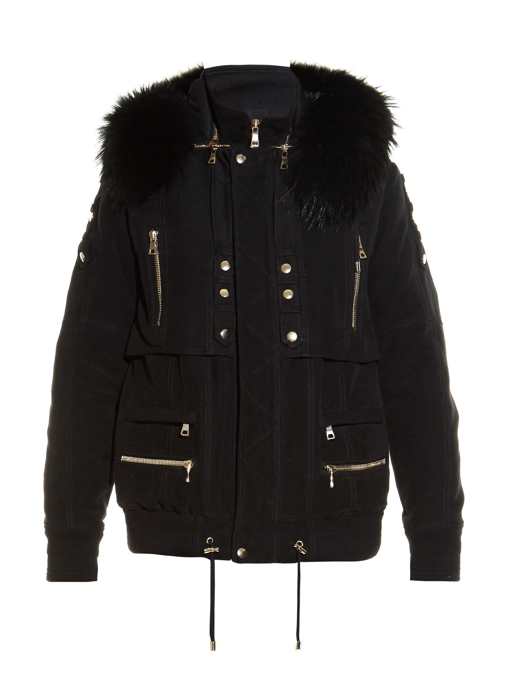Lyst Balmain Fur Trim Hooded Parka Jacket In Black For Men