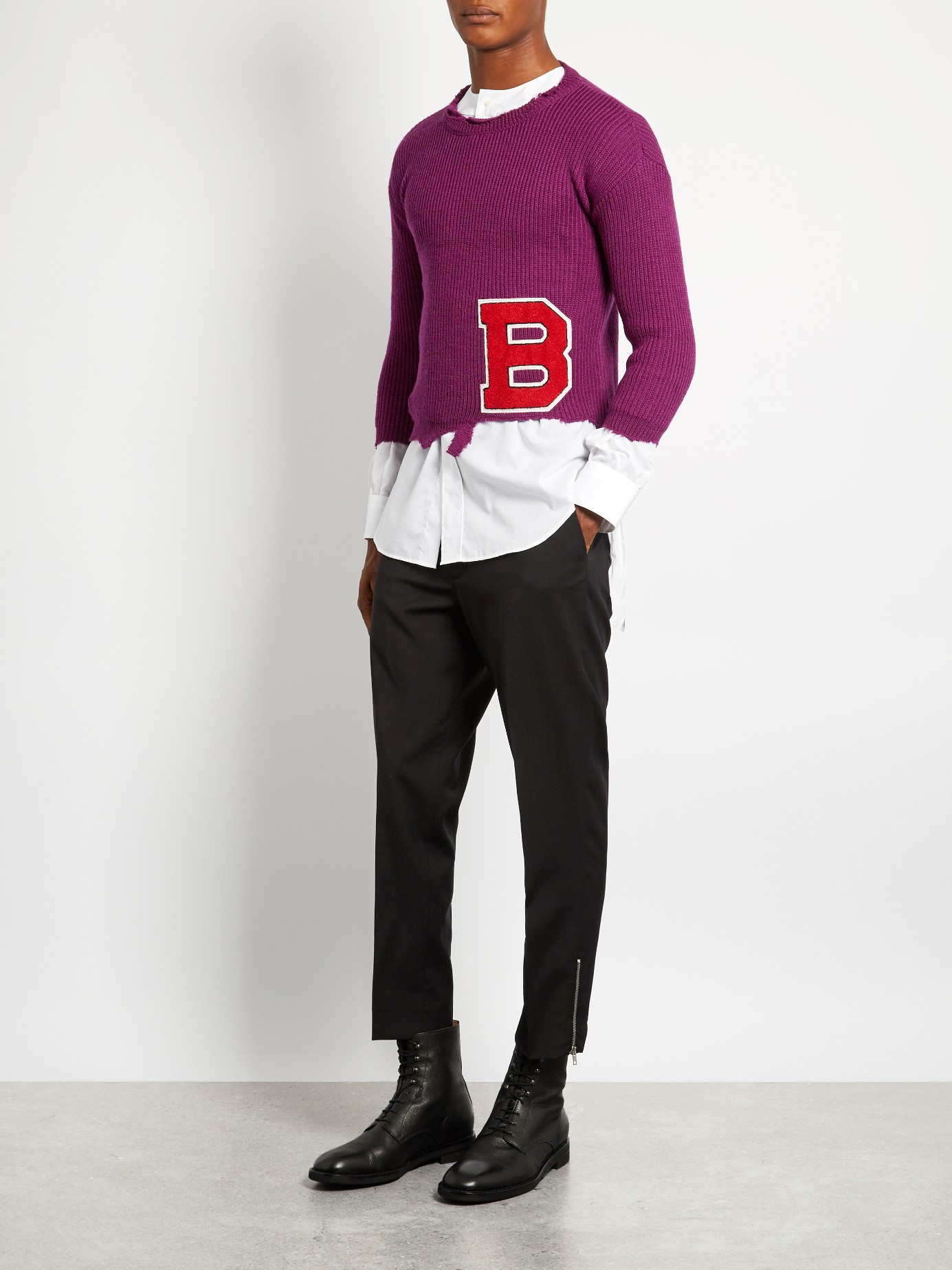 Raf Simons Badge-appliqué Distressed Wool Sweater in Purple for Men