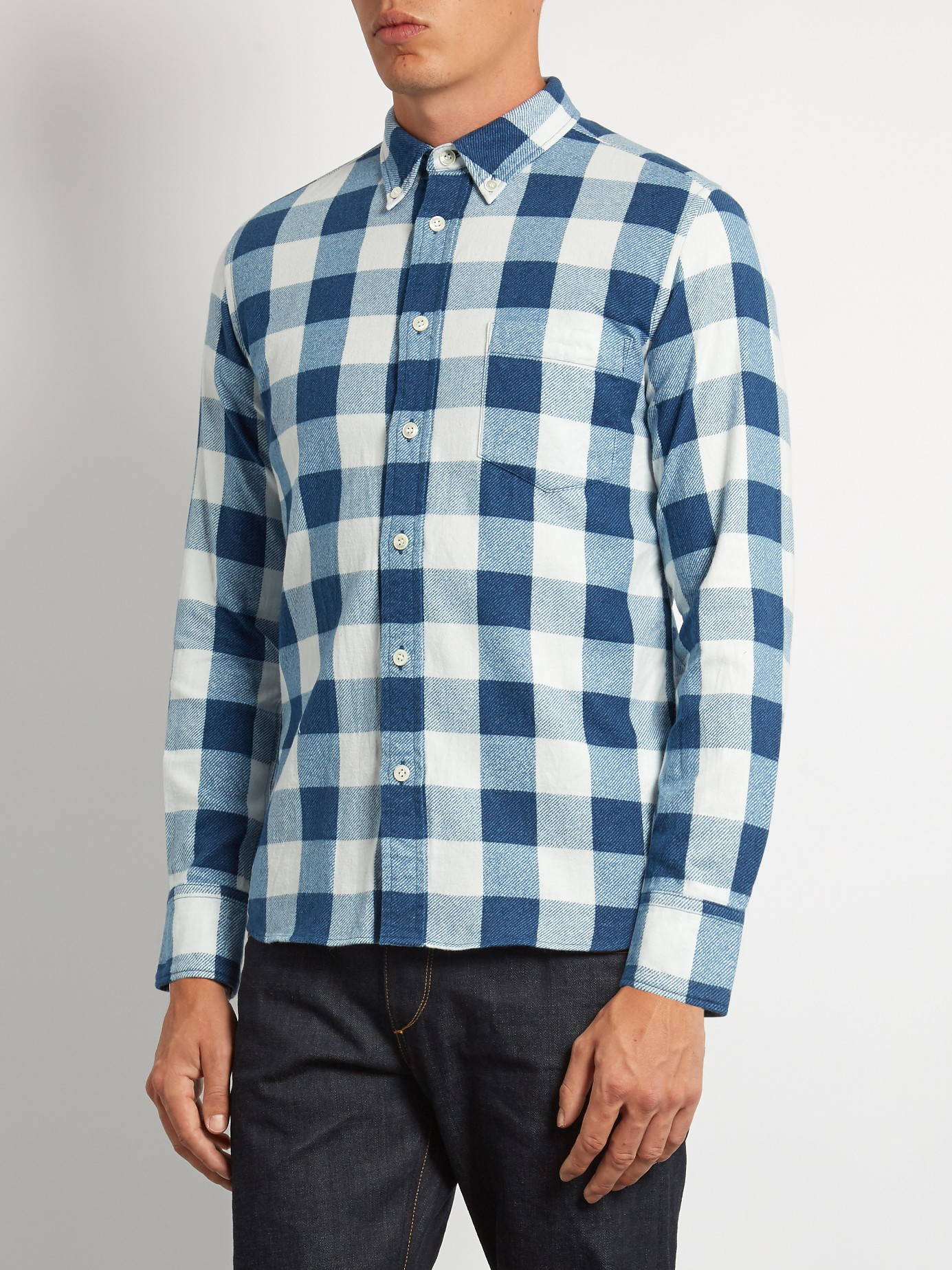 Blue Blue Japan Checked Cotton Flannel Shirt For Men Lyst