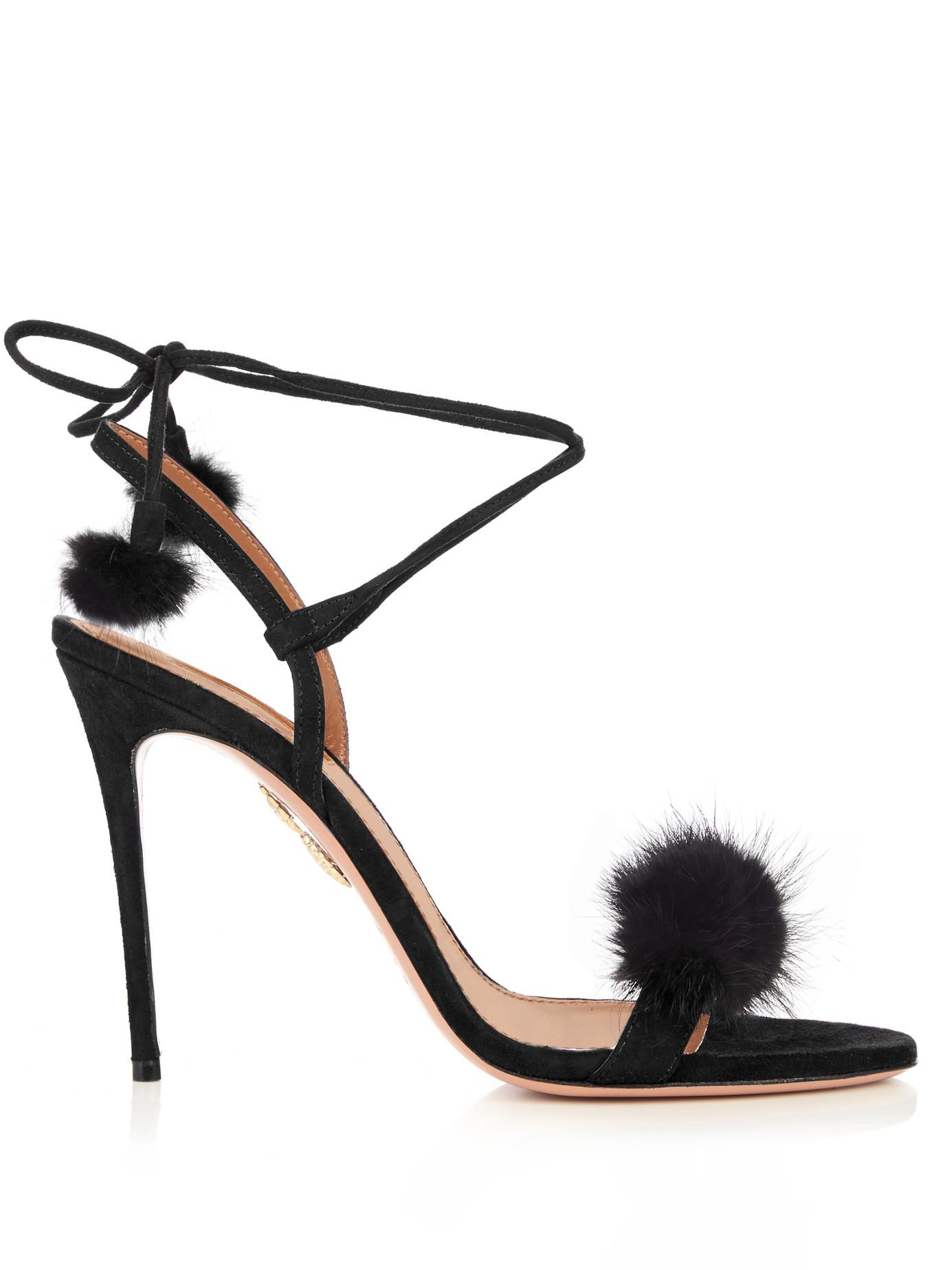 3d871ecc1a9d Lyst - Aquazzura Wild Russian Fur And Suede Sandals in Black