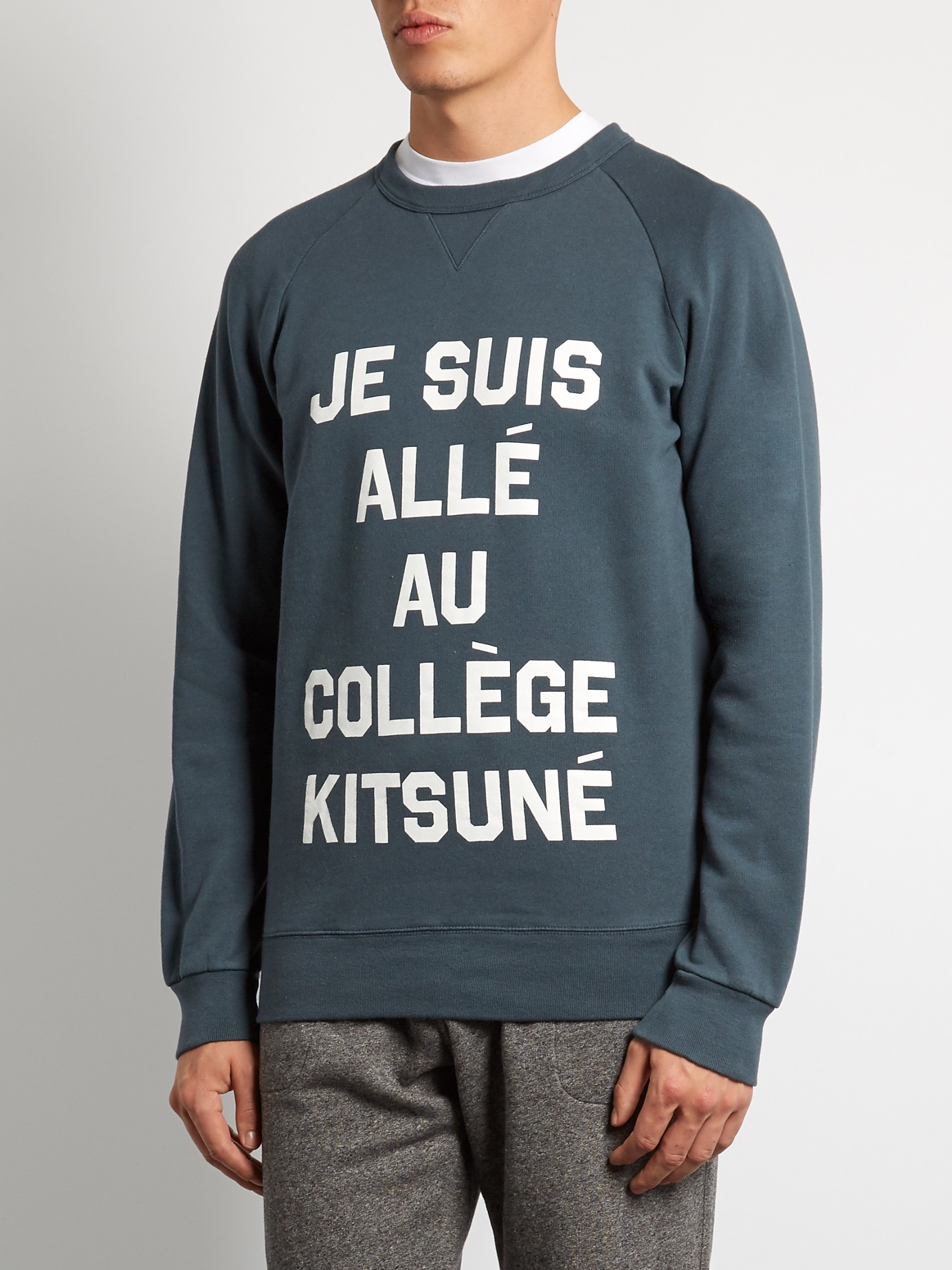 maison kitsun je suis all crew neck sweatshirt in blue for men lyst. Black Bedroom Furniture Sets. Home Design Ideas