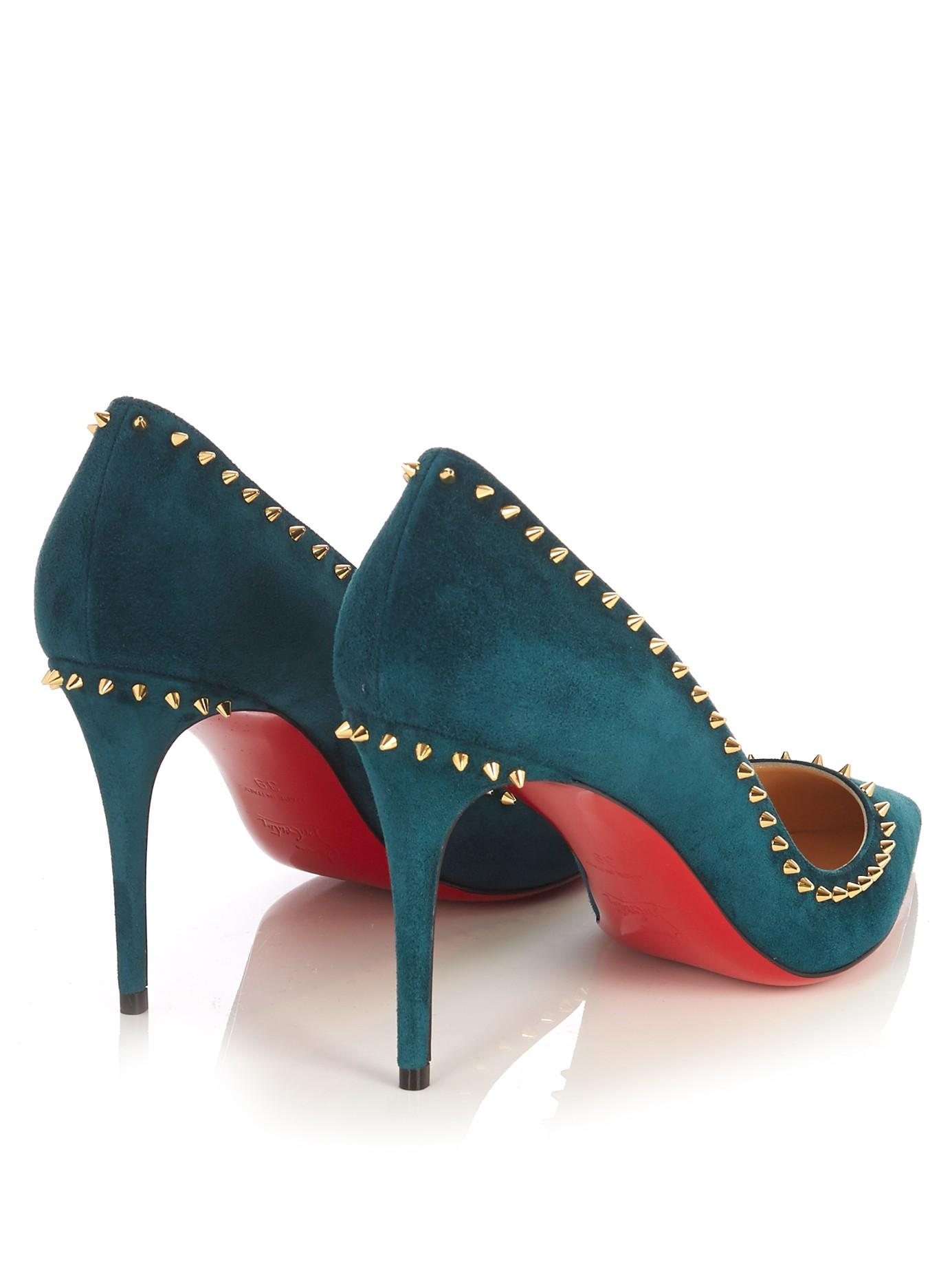 purchase cheap ff036 3d447 Christian Louboutin Anjalina 85mm Suede Pumps in Dark Green ...